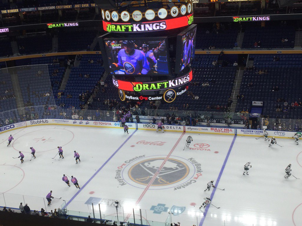 The Sabres are hosting the Wild on Hockey Fights Cancer Night, a league-wide initiative. (Mike Harrington/Buffalo News)