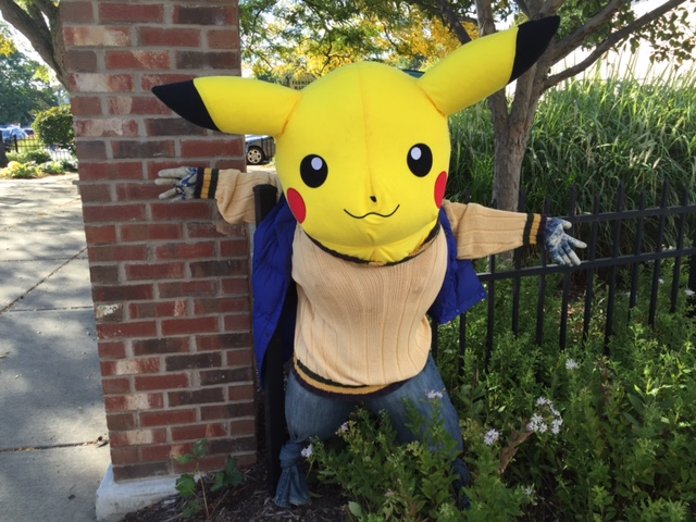 This Pikachu look-a-like in Peace Park in Hamburg  is one of the scarecrows in the contest. (Barbara O'Brien/Buffalo News)