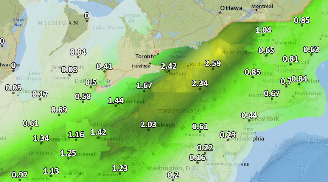 Upstate New York will be the place where the most rain falls between now and late Friday, according to forecasts. (National Weather Service graphic)