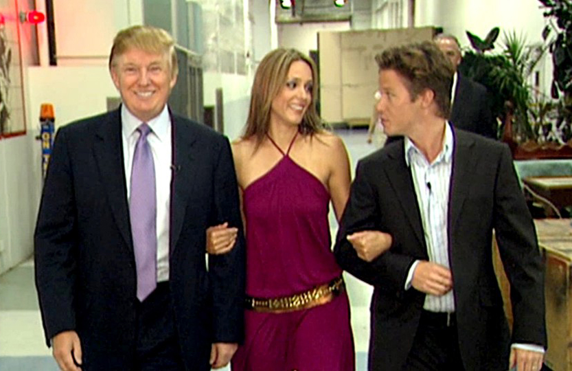 Donald Trump prepares for an appearance on 'Days of Our Lives' in 2005 with actress Arianne Zucker, accompanied by then-'Access Hollywood' host Billy Bush. (Obtained by the Washington Post)