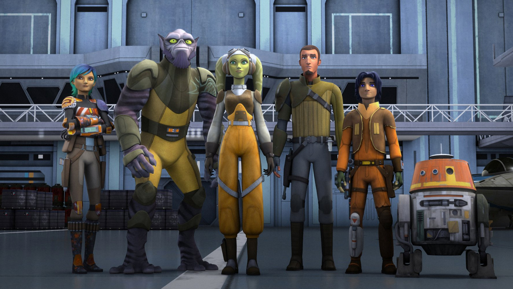 Star Wars Rebels (2014) Titles: Star Wars Rebels, Homecoming Characters: Kanan Jarrus, Ezra Bridger, Hera Syndulla, Zeb Orrelios, Sabine Wren Photo by Disney