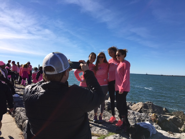 Many participants stopped along the Buffalo Harbor for photos Saturday morning during the annual Making Strides Against Breast Cancer 5K walk, which was preceded by a 5K run. (Photos by Scott Scanlon/Buffalo News)