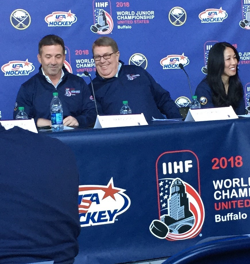 Sabres President Russ Brandon, left, and owner Kim Pegula joined USA Hockey's Dave Ogrean to announce world juniors details.