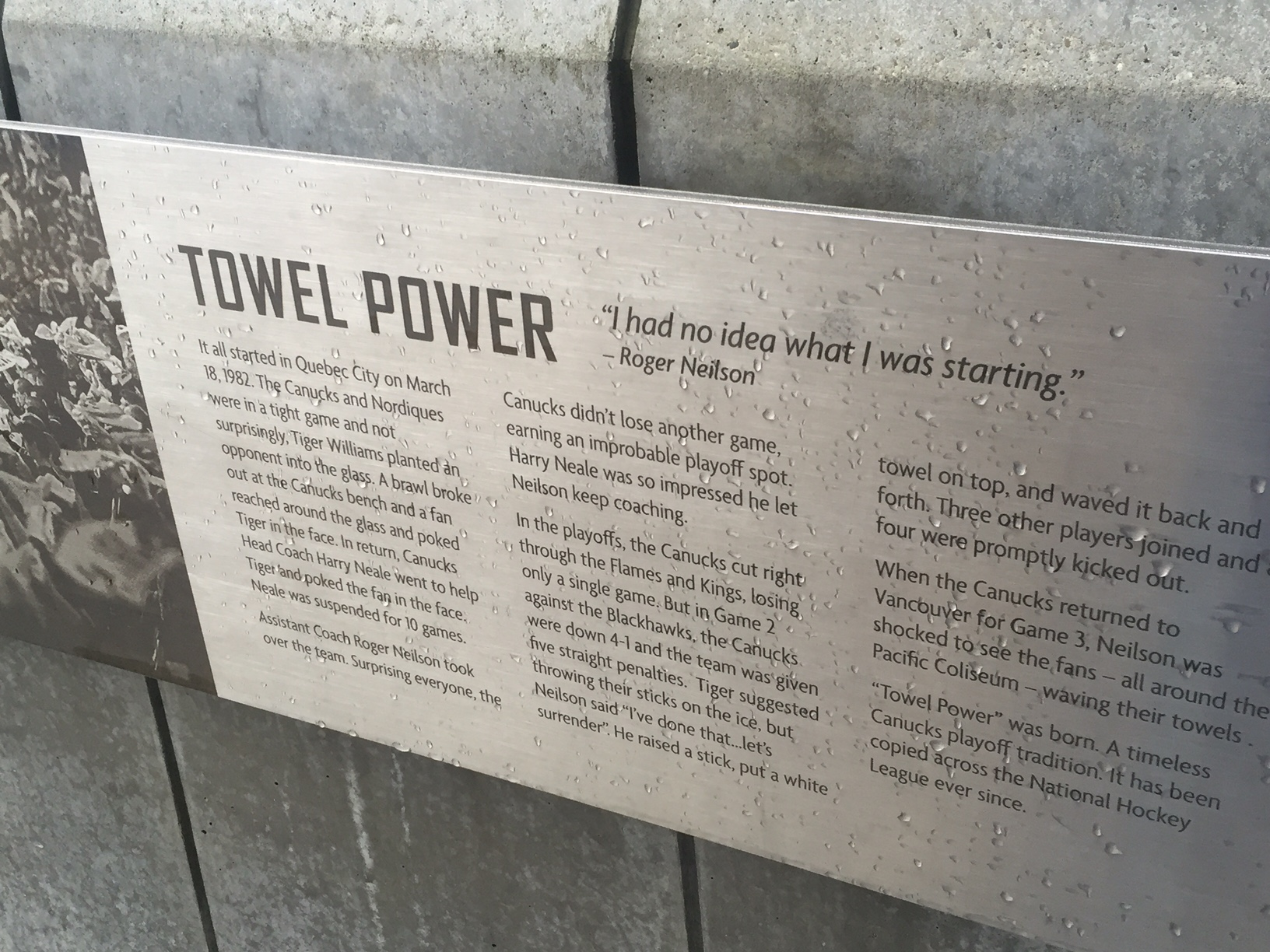 The explanation of Towel Power on the Roger Neilson statue in Vancouver (Mike Harrington/Buffalo News)