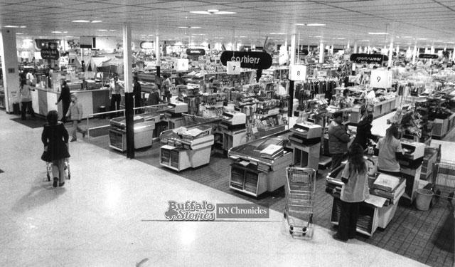 The checkout area of the Seneca Street Twin Fair, 1979. Buffalo News archives