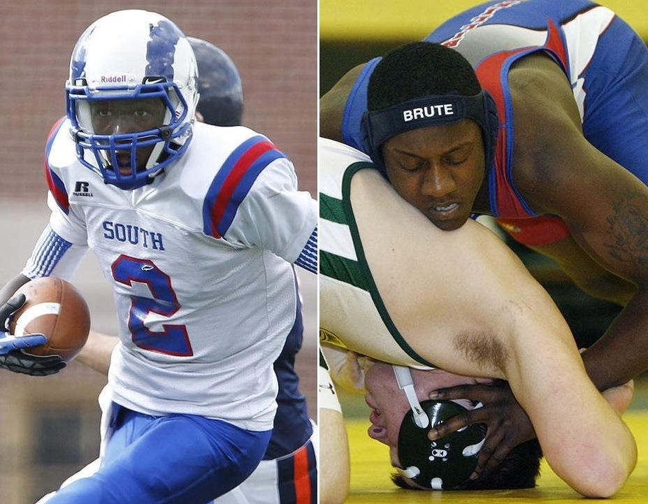 Left, Chaq Nettles playing football his senior year at Williamsville South; at right, Curtis Byers wrestling for the school in 2009. (News file photos)