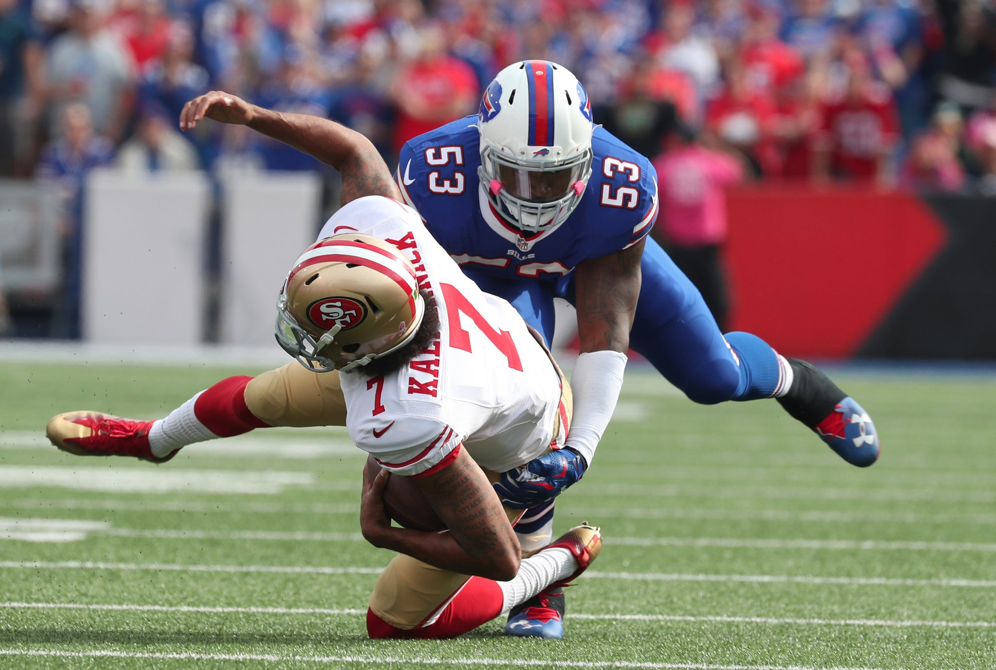 Bills linebacker Zach Brown had four sacks in 2016, including this one of San Francisco's Colin Kaepernick. (James P. McCoy/Buffalo News)