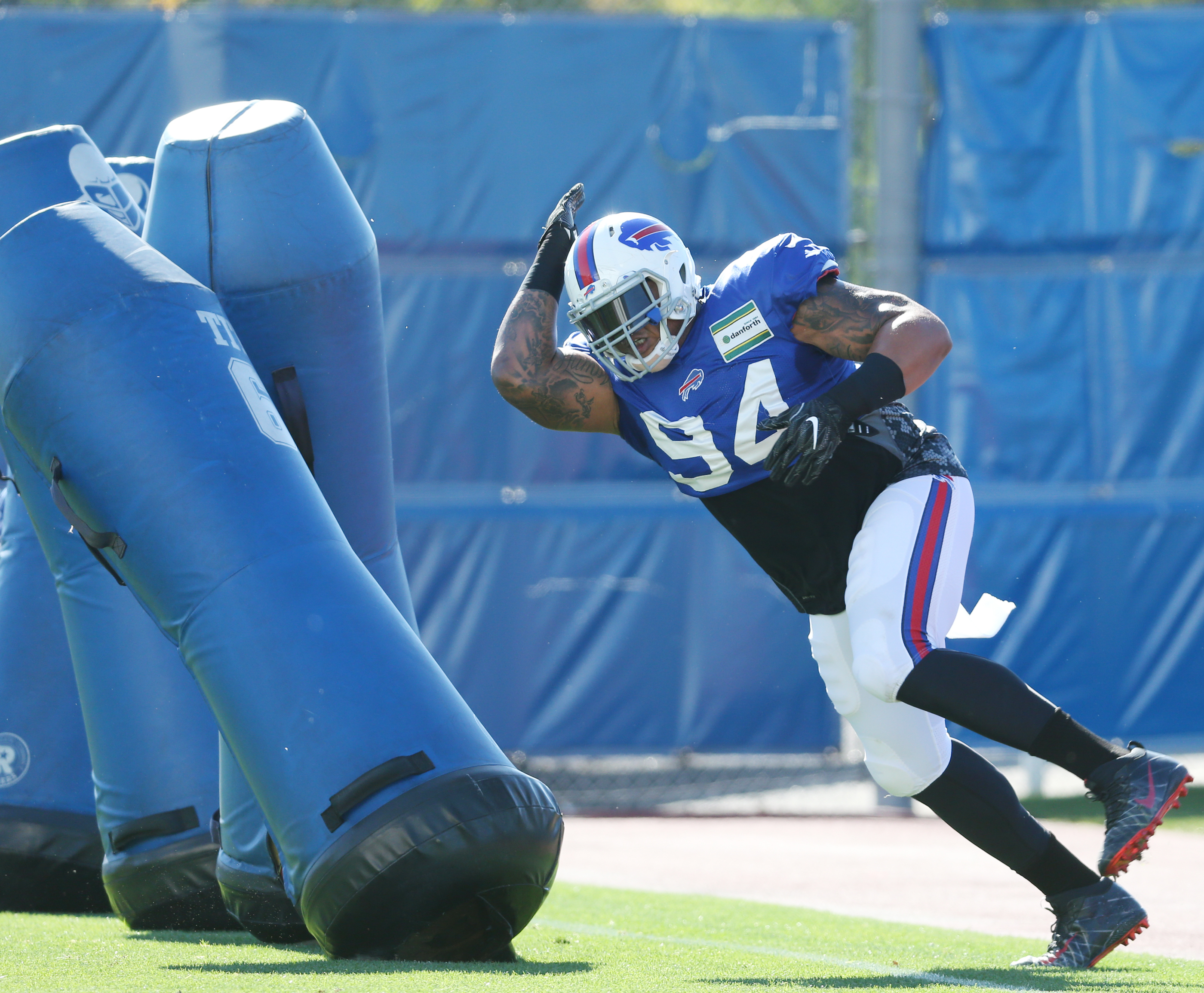 Buffalo Bills defensive tackle Jerel Worthy (94) works out during a practice this season. (James P. McCoy/ Buffalo News)