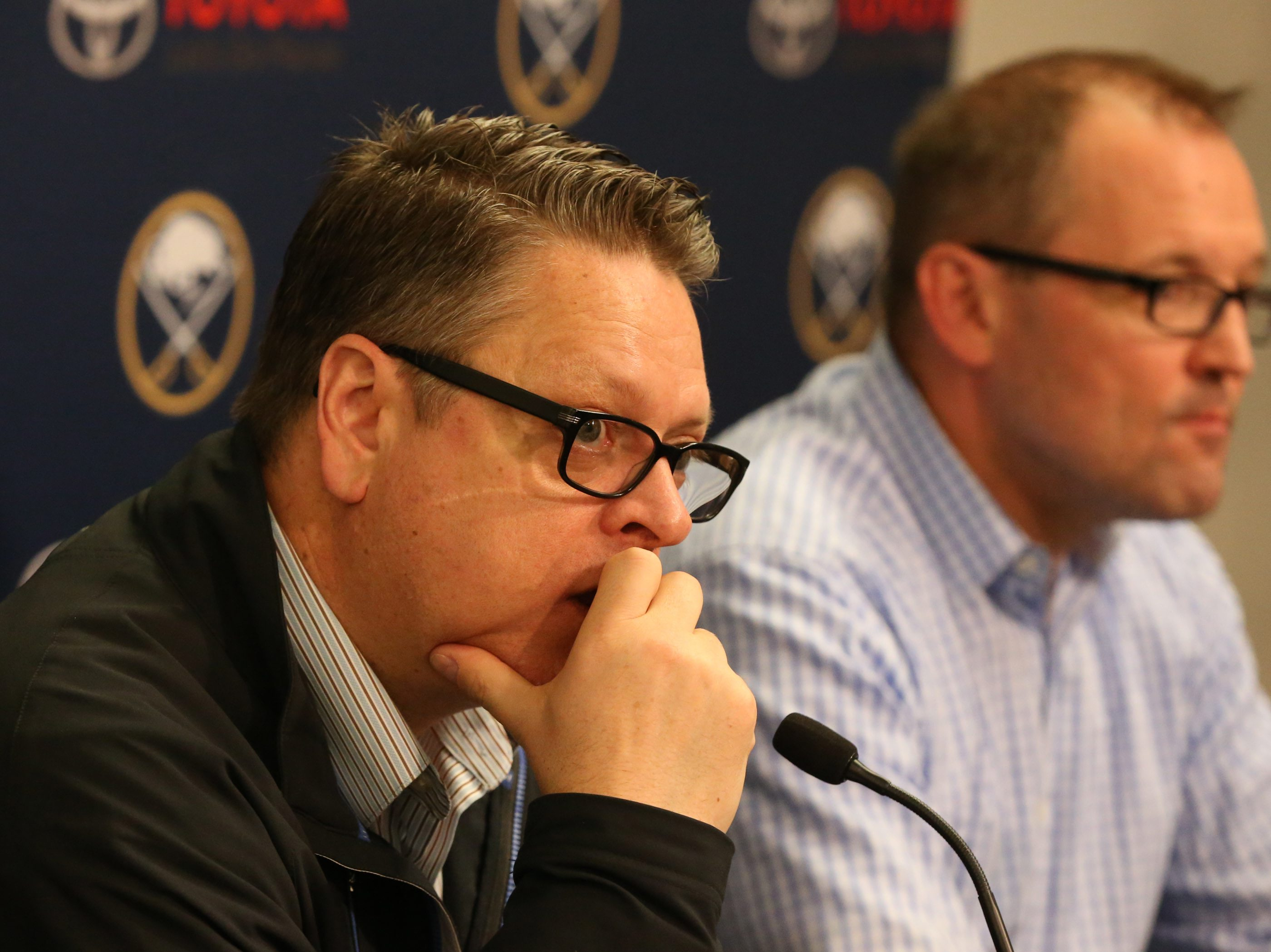 Tim Murray (left) and Dan Bylsma are both relieved of their duties. (James P. McCoy/Buffalo News file photo)