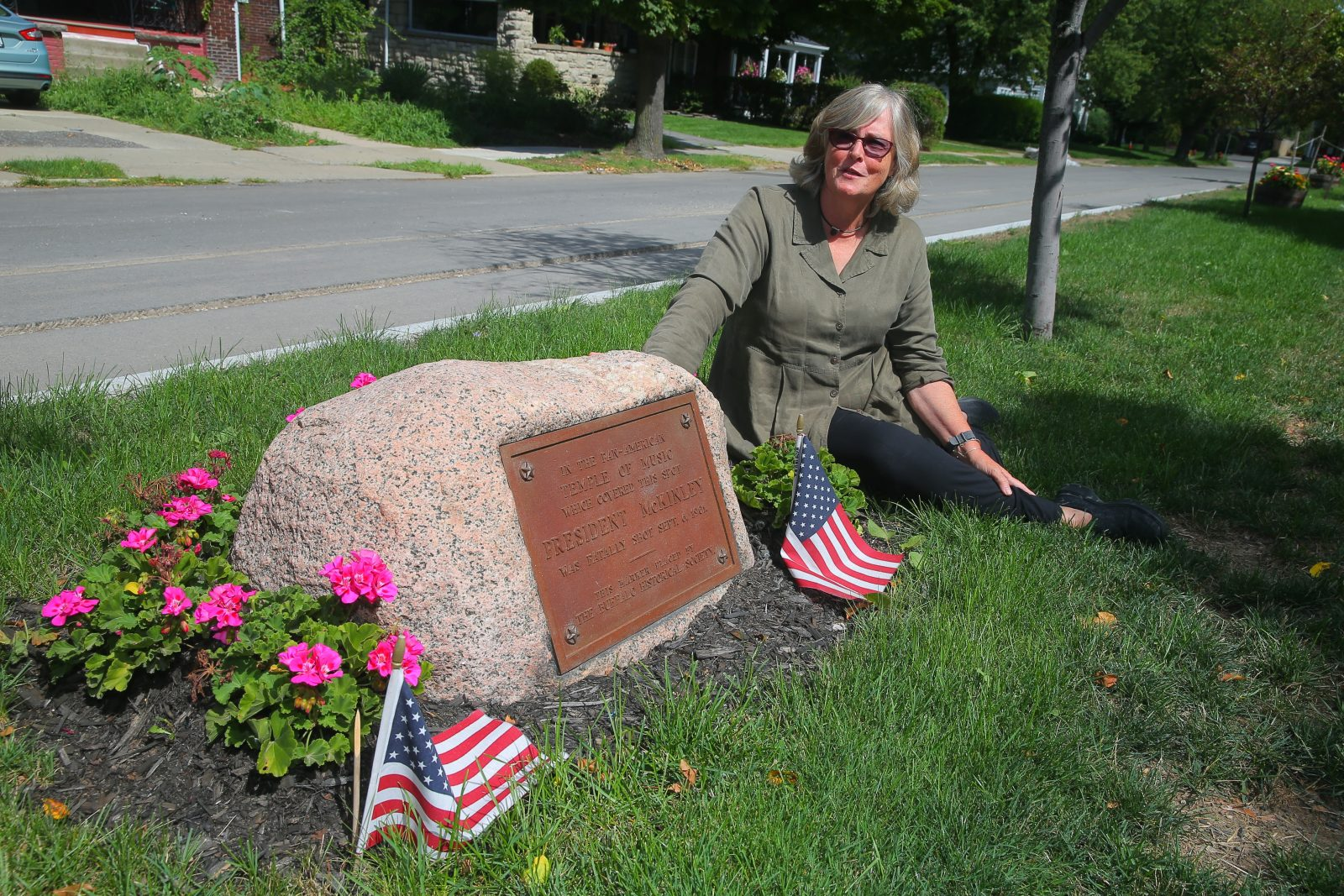 Author Margaret Creighton at the spot where President William McKinley was shot during the Pan-American Exposition in 1901. (John Hickey/Buffalo News)