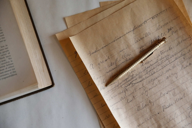 A copy of the handwritten first draft of a speech given by Theodore Roosevelt after his inauguration on display at the Wilcox Mansion. Legend has it that Roosevelt crumpled up the original first draft and tossed it into the garbage bin where it was swiftly retrieved by Mary Grace Wilcox.