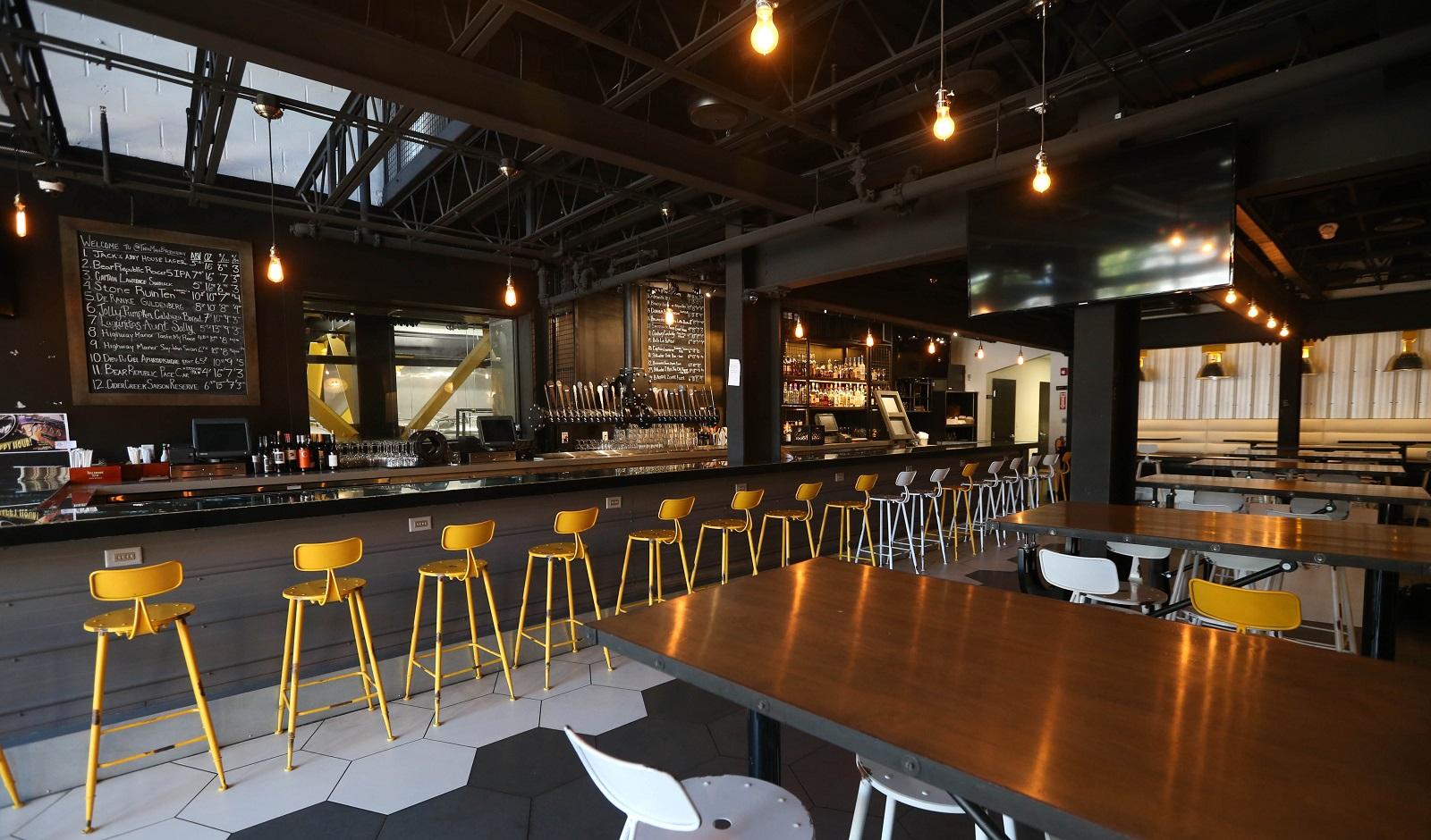 The downstairs bar area in new Elmwood Avenue brewery-restaurant Thin Man. (Sharon Cantillon/Buffalo News)