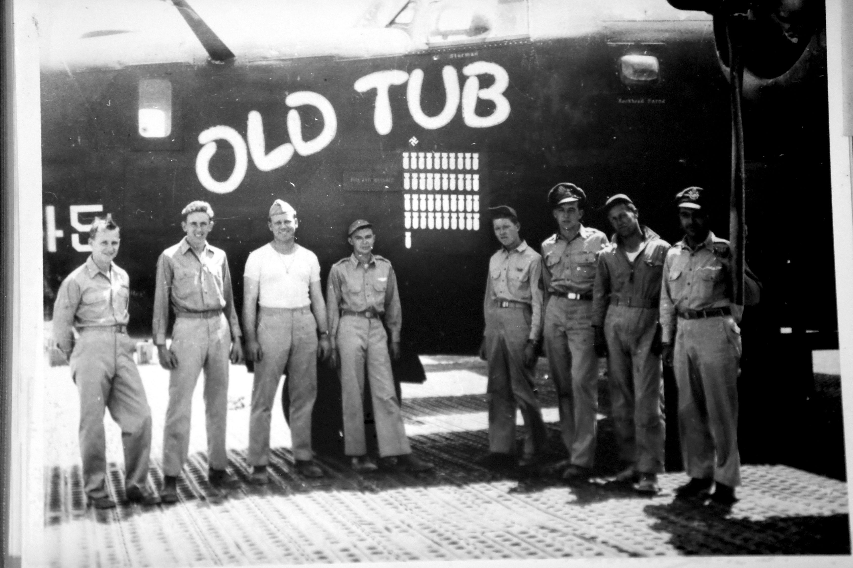 Edward H. Kaczmarek, third from left, and his bomber crew. (Robert Kirkham/Buffalo News)