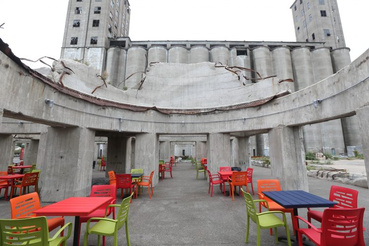 A beer garden is being made out out of the ruins of a some grain silos. (Sharon Cantillon/Buffalo News)