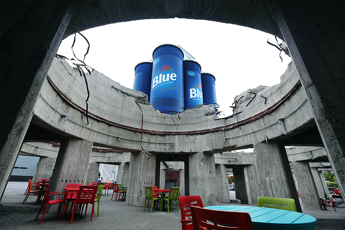 RiverWorks is constructing a brewery inside the Labatt Blue grain silos. They hope to open before year's end. They made a beer garden out of the ruins of a some grain silos. Photo taken, Tuesday, Oct. 11, 2016. (Sharon Cantillon/Buffalo News)