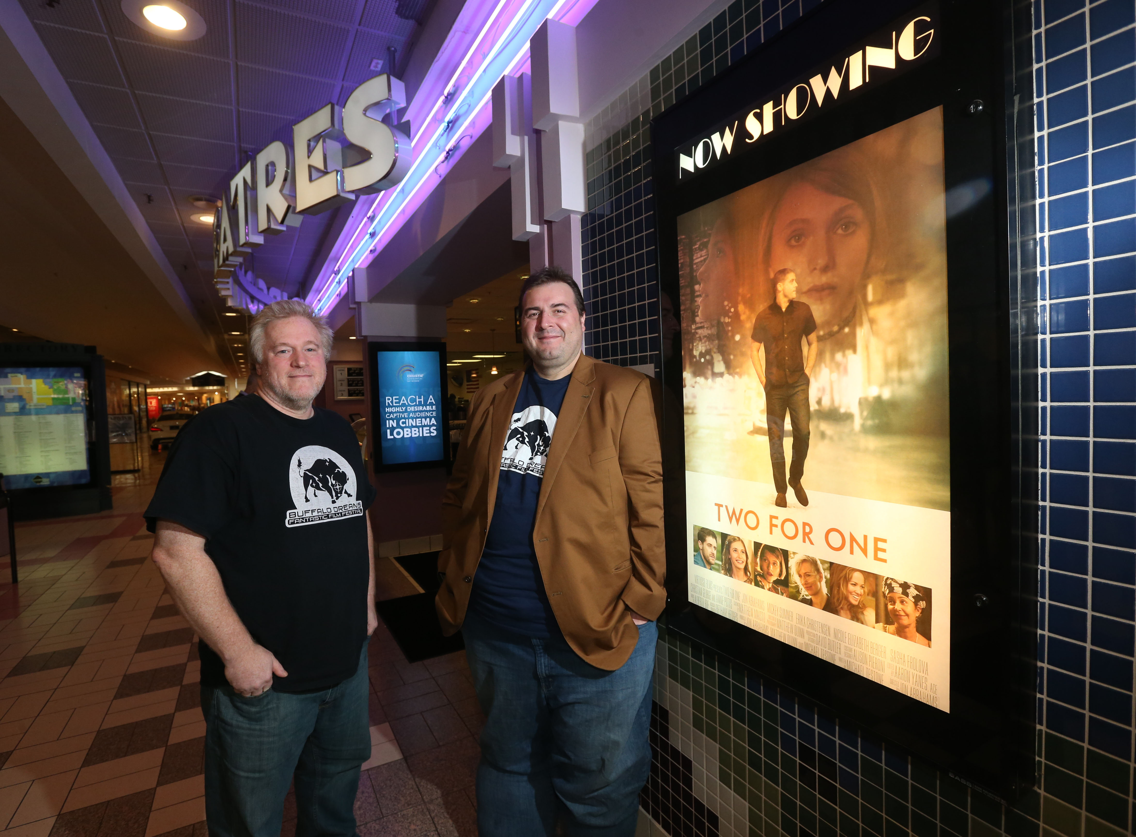 Greg Lamberson, left, and Chris Scioli are founders and co-directors of the Buffalo Dreams Fantastic Film Festival. The event includes a special advance screening of the film 'Two For One' which was shot in Buffalo. (Sharon Cantillon/Buffalo News)
