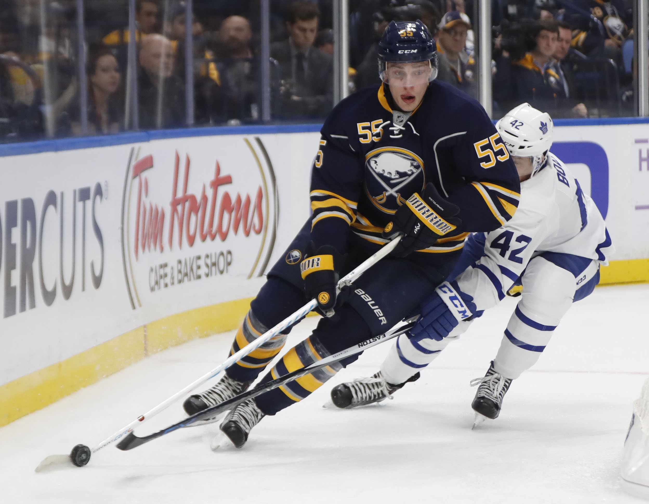 Rasmus Ristolainen leads the Sabres in assists, but no defenseman has scored yet. (Harry Scull Jr./Buffalo News)
