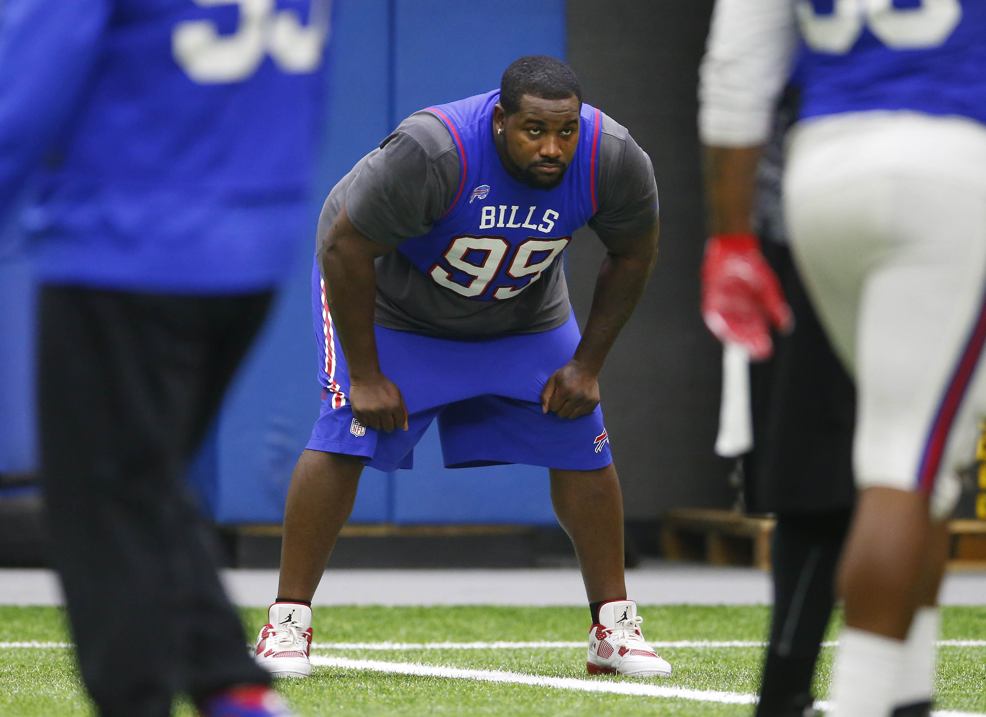 The Bills Marcell Dareus watches practice from the sideline in Orchard Park Thursday, Nov. 3, 2016. (Mark Mulville/Buffalo News)