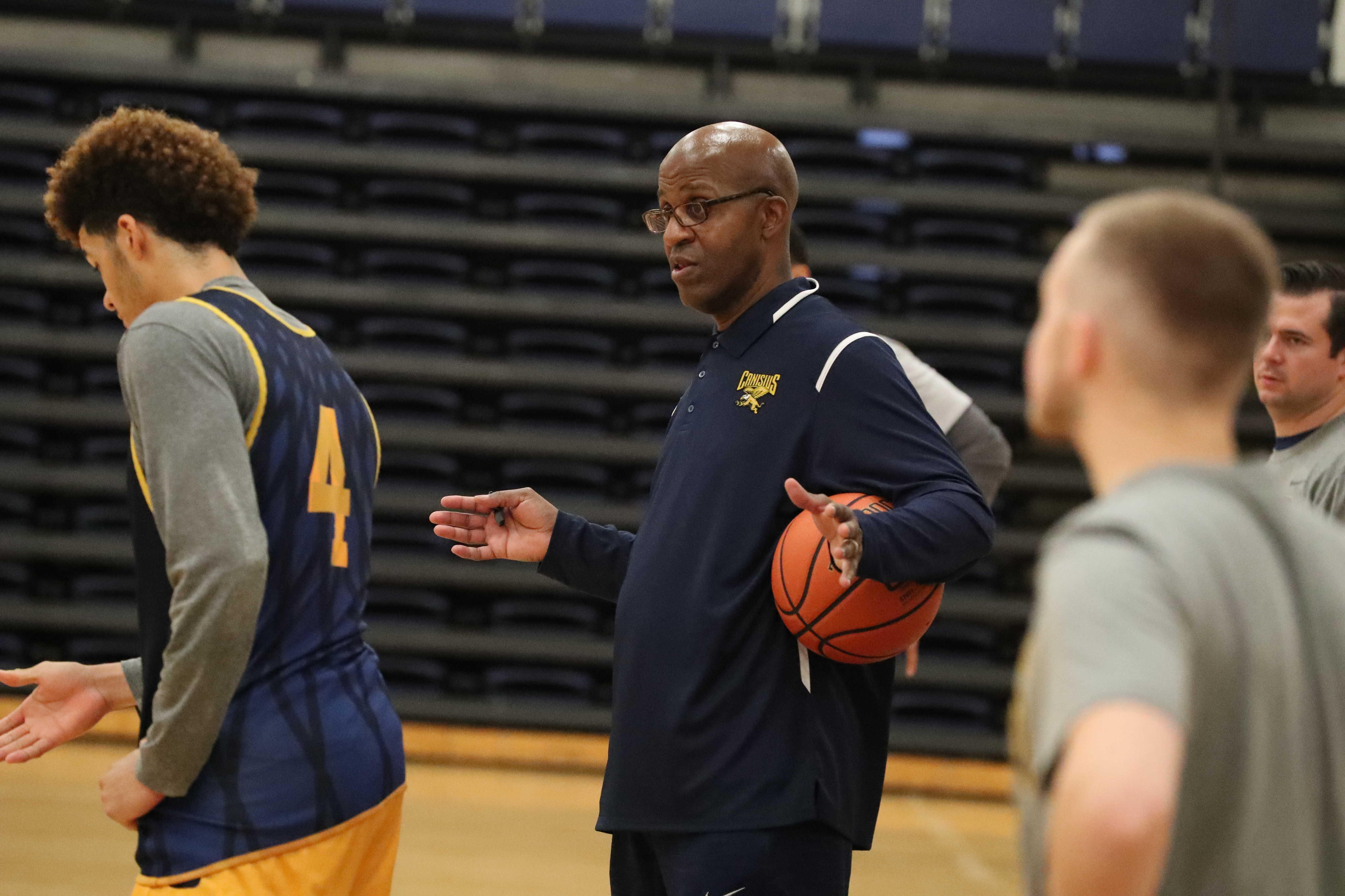 Canisius Golden Griffins head coach Reggie Witherspoon explains a play during practice at Canisius college in Buffalo on Wednesday, Nov. at 2, 2016. (James P. McCoy/Buffalo News)