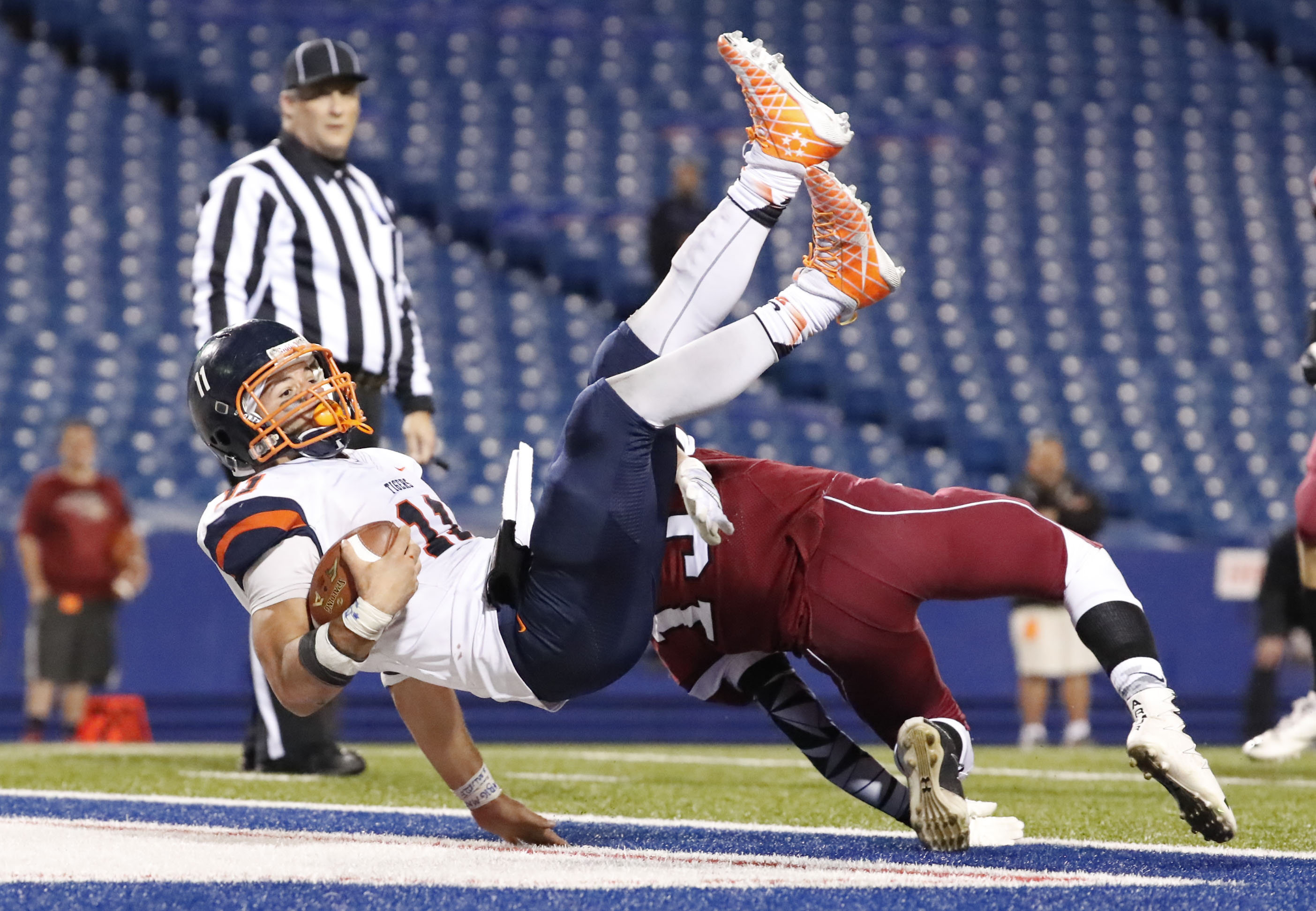 Bennett running back Isaiah McDuffie scores his second touchdown of the game against Starpoint during second half action of the Section VI Class A final at New Era Field. (Harry Scull Jr./Buffalo News)