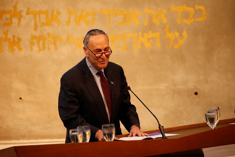 Sen. Charles Schumer speaks during the funeral services for Stanford Lipsey, long-time publisher of The Buffalo News, at Temple Beth Zion in Buffalo, Sunday, Nov. 6, 2016. (Derek Gee/Buffalo News)