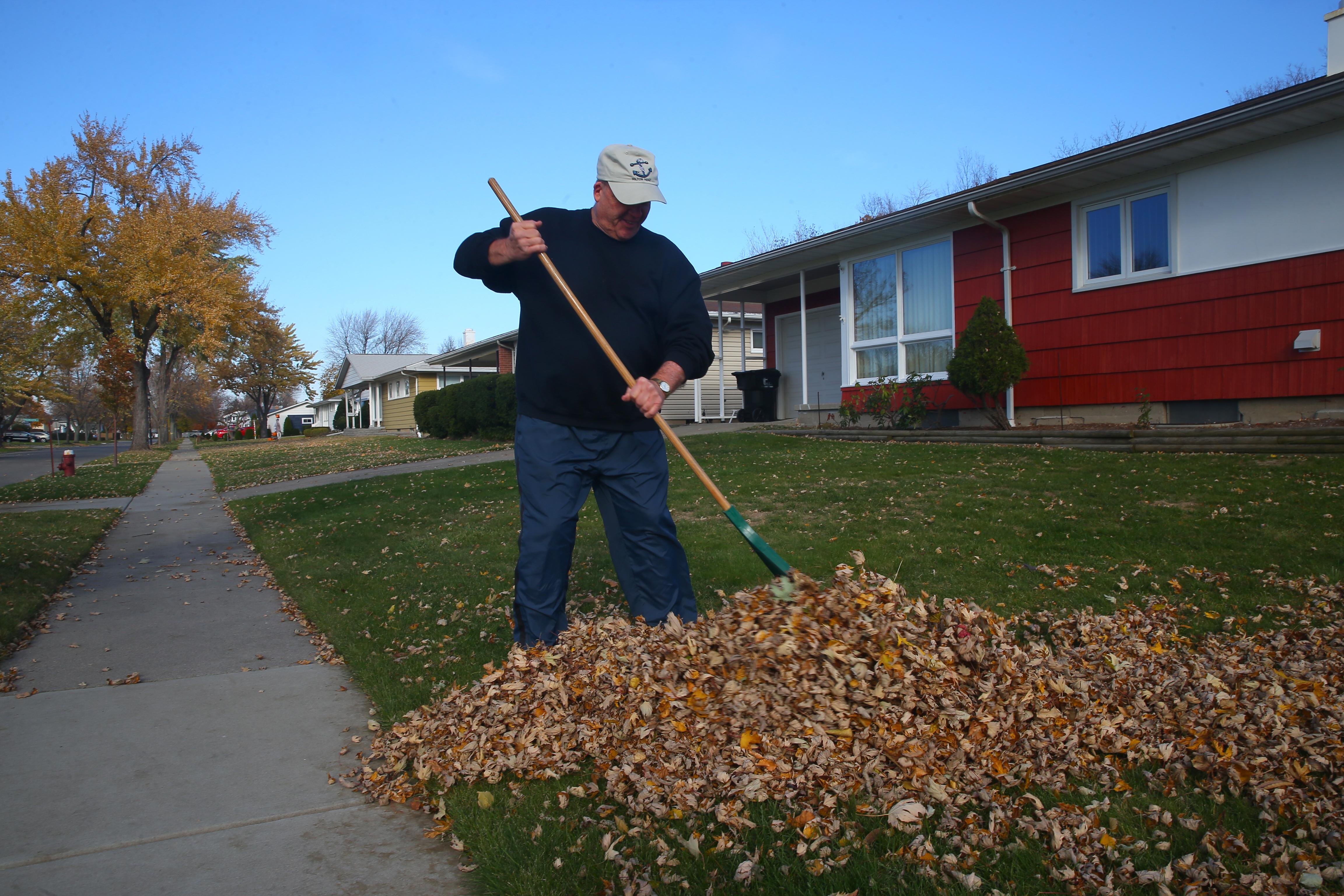 Gary Wilger rakes leaves for a neighbor on  Evergreen Drive on  Monday, Nov. 14, 2016 in the Town of Tonawanda. (John Hickey/Buffalo News)