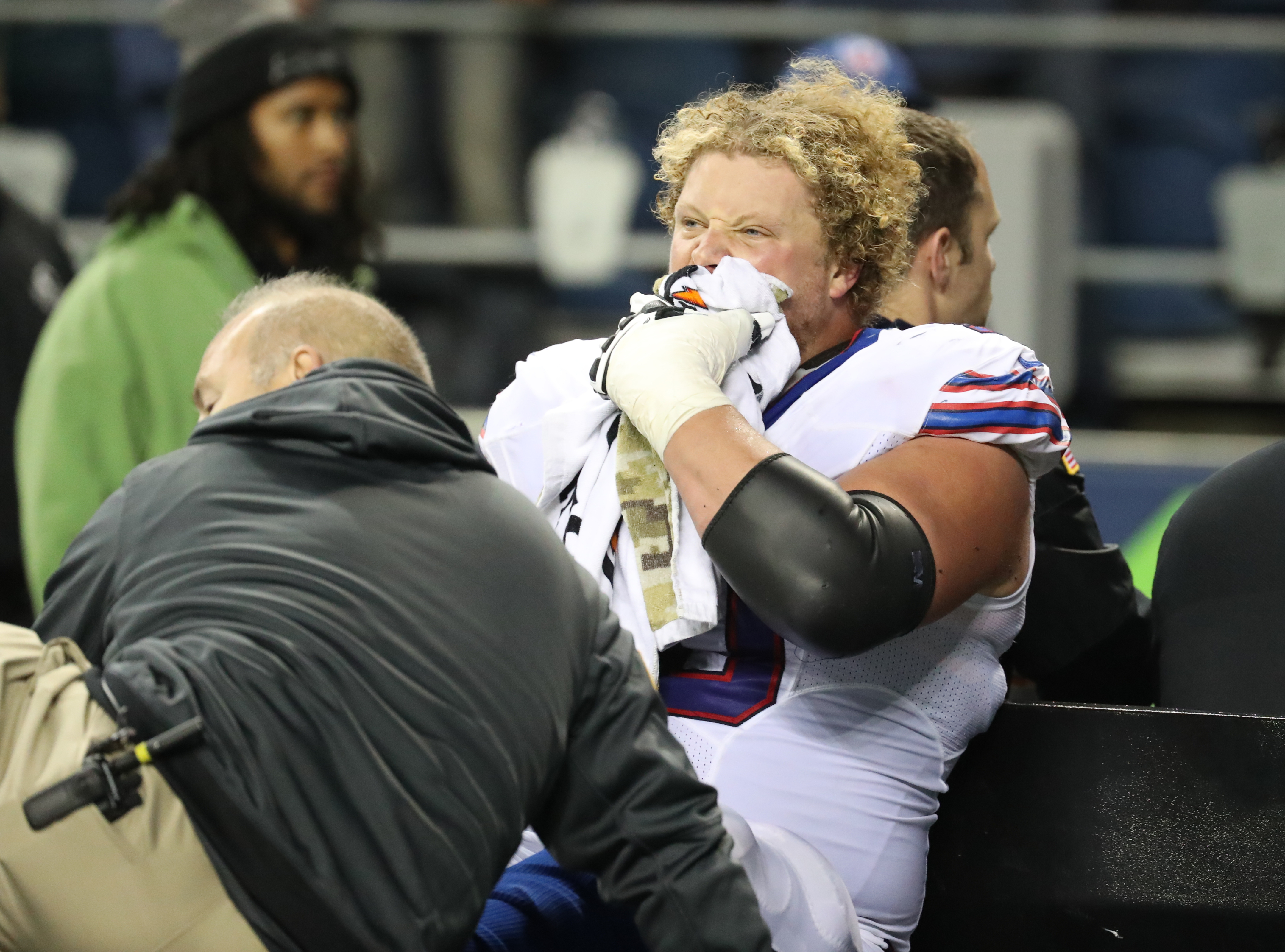 Buffalo Bills center Eric Wood (70) reacts as he is carted off the field after injuring a leg during the third quarter of a game against the Seattle Seahawks. (James P. McCoy/Buffalo News)