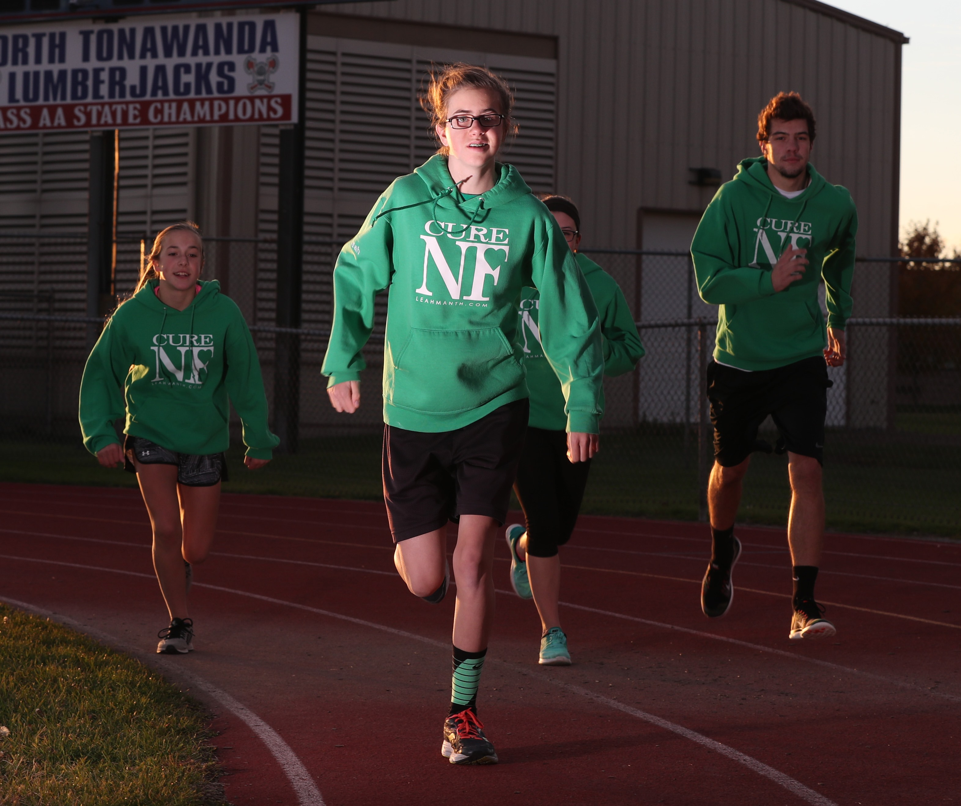 Leah Manth is a cross country/track runner with Neurofibromitosis. There is no cure for her condition. (James P. McCoy/Buffalo News)