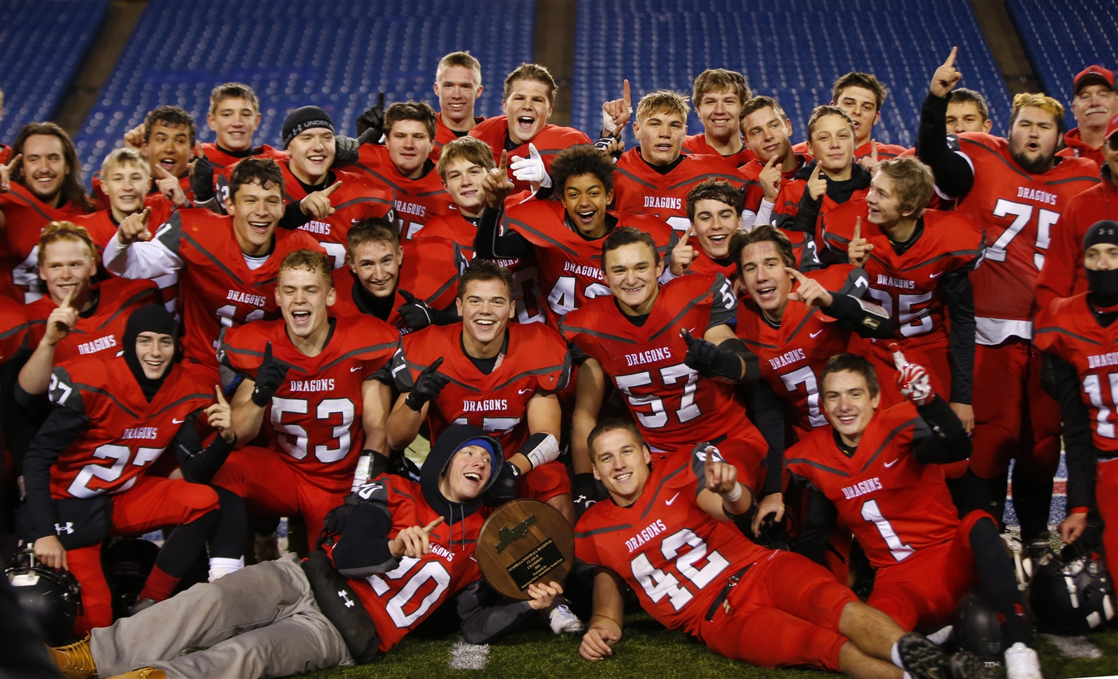 Maple Grove celebrates moving on to the NYSPHSAA Class D final four. (Harry Scull Jr./Buffalo News)
