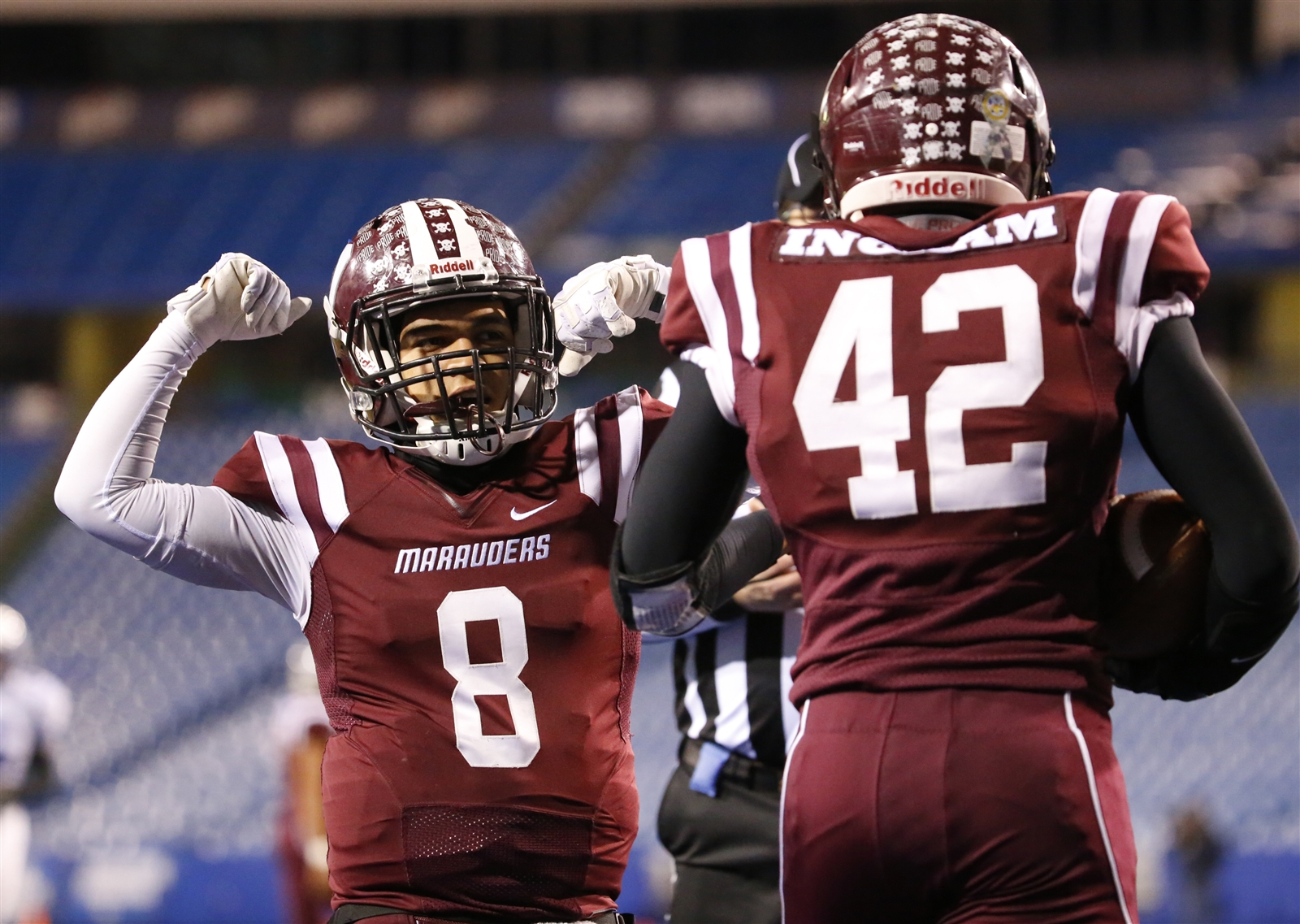Jaziah Rivera and Alton Ingram (42) have had plenty to celebrate during Dunkirk's run to its first state final four. (Harry Scull Jr./Buffalo News)