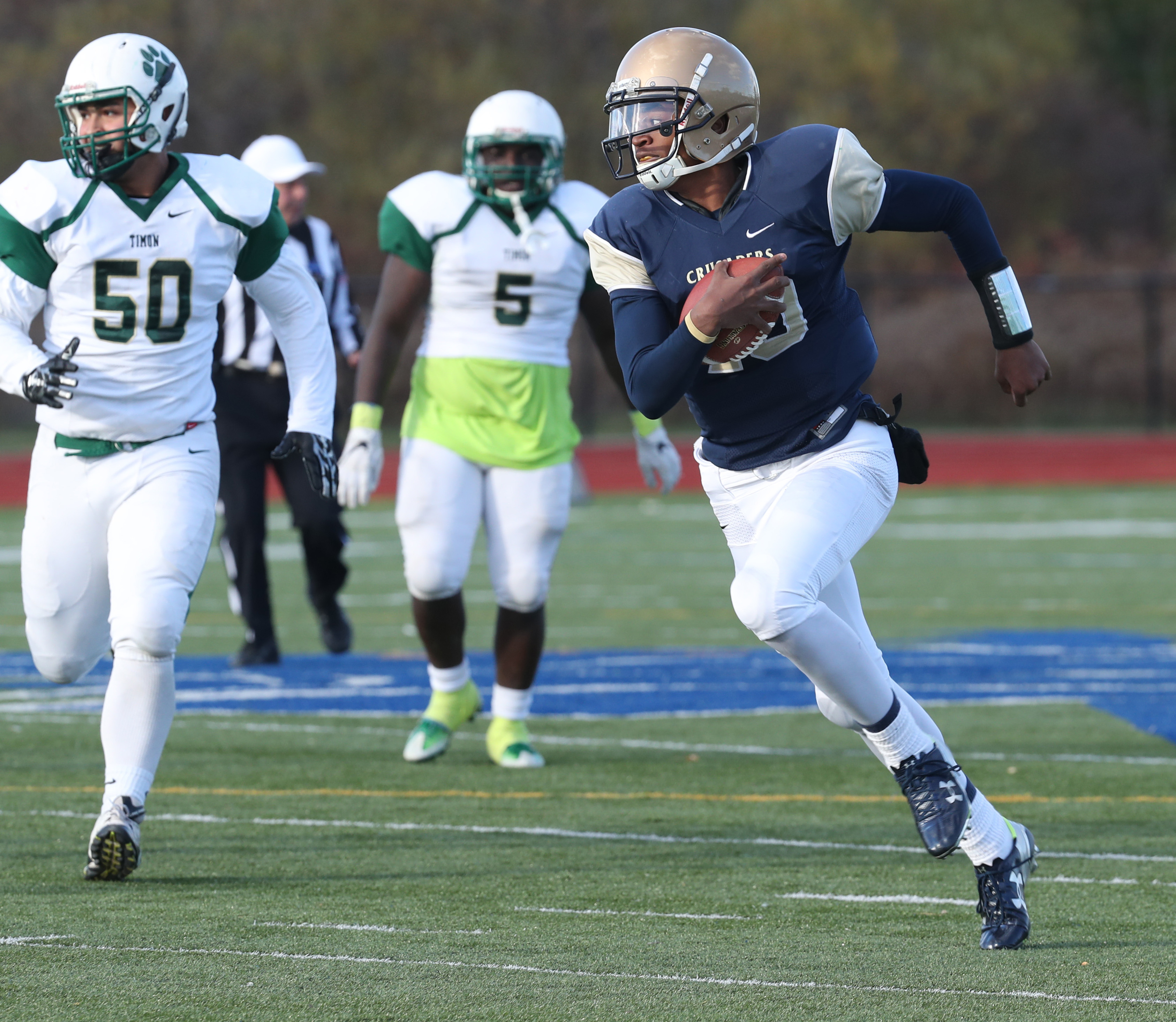 Canisius Jayce Johnson beats Timon's Joe Harrison for a touchdown in the third quarter.  (James P. McCoy/Buffalo News)