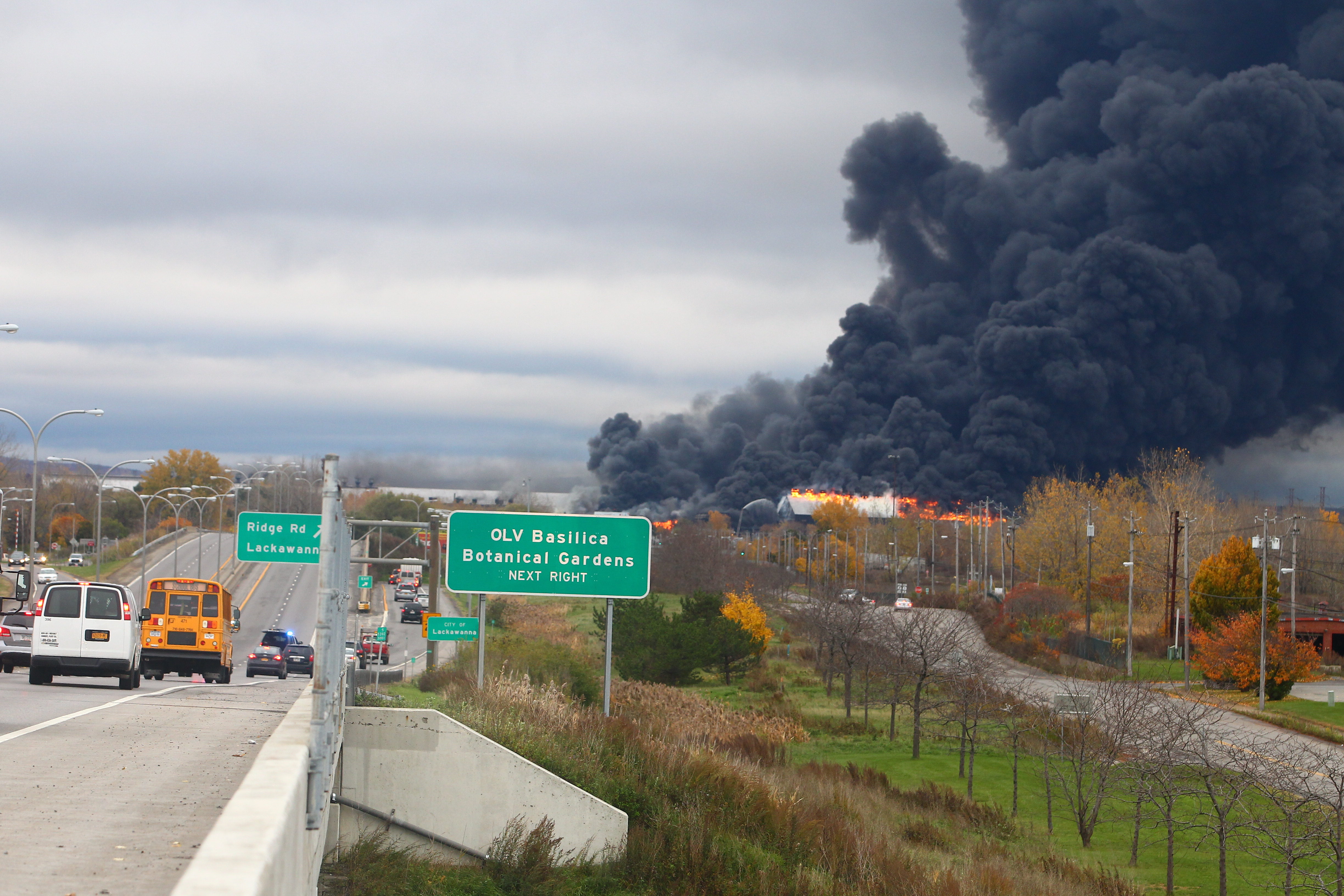 A fire rages at the former Bethlehem Steel storage along Route 5, in Lackawanna, on Wednesday, Nov. 9. (John Hickey/Buffalo News)