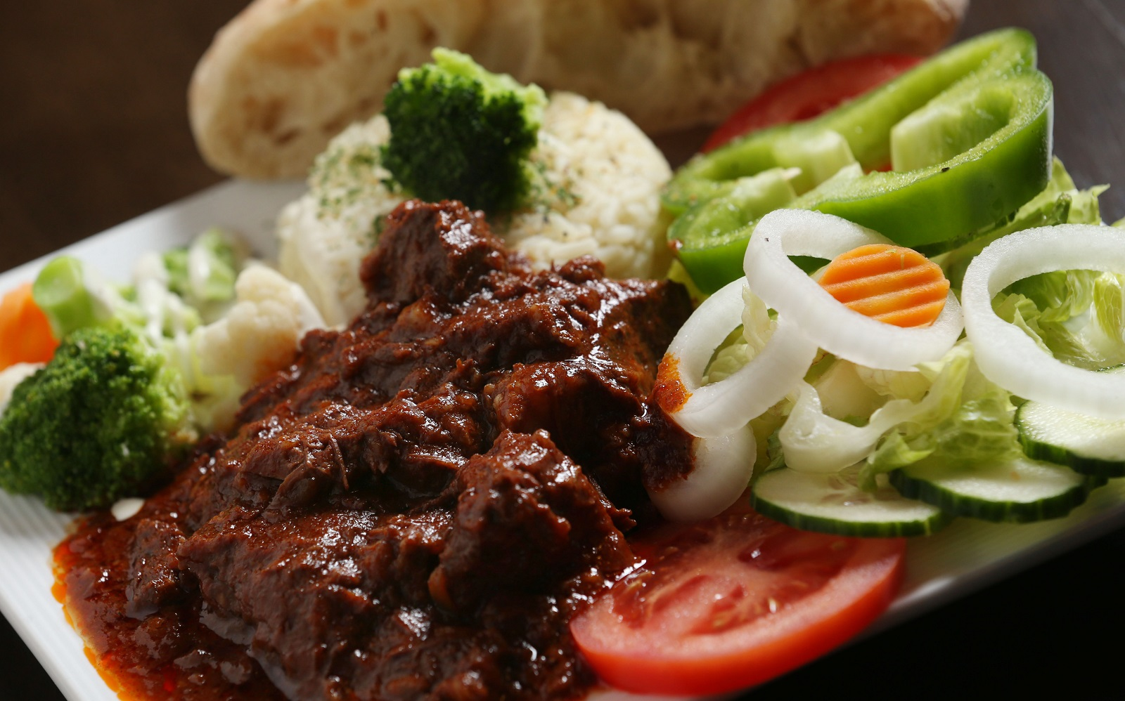 Balkan Dining's goulash is beef tenderloin slowly stewed and served over rice or mashed potatoes. (Sharon Cantillon/Buffalo News)