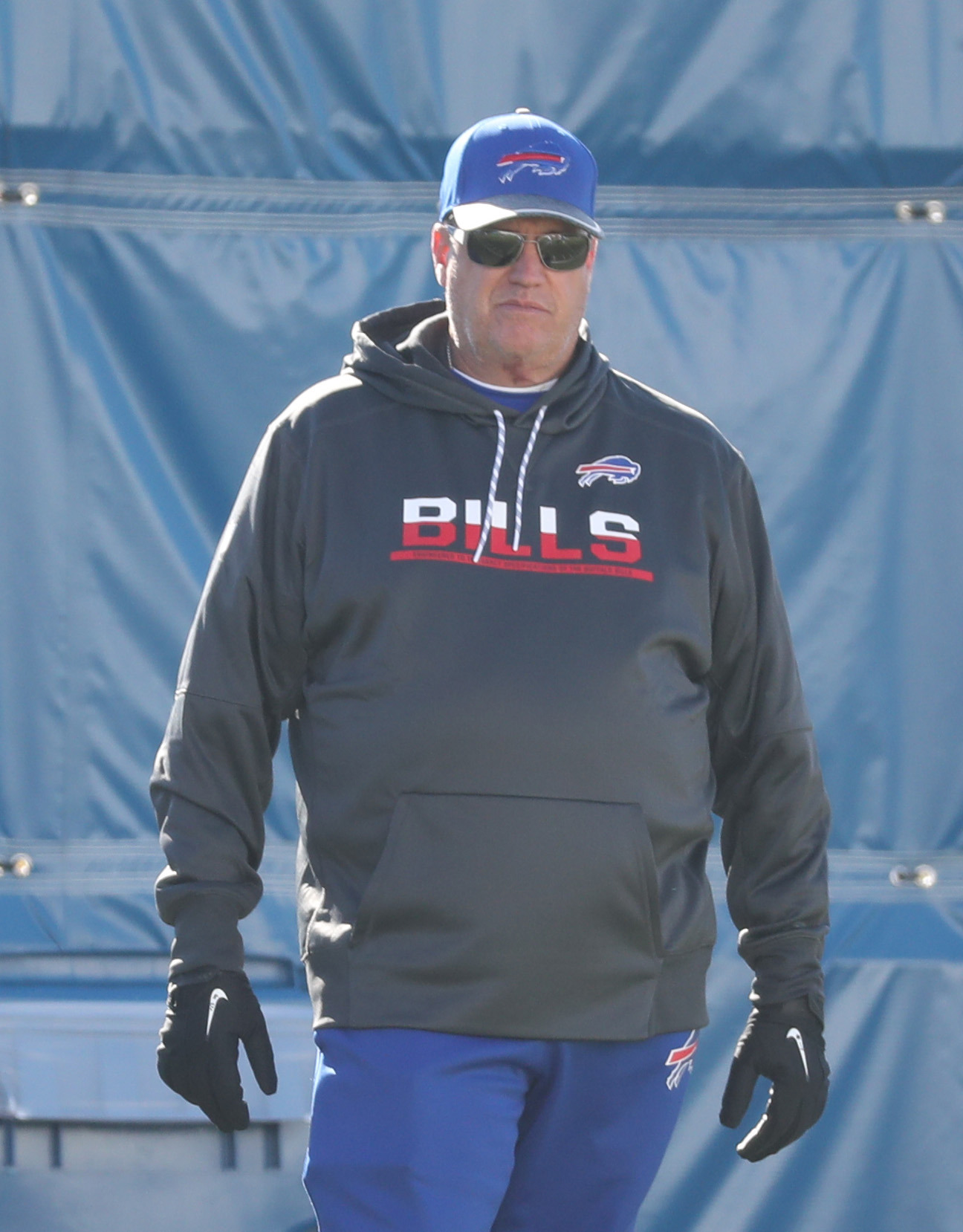 Buffalo Bills head coach Rex Ryan watches practice from the sideline at ADPRO Sports Training Center  in N.Y. on Monday, Nov. 14, 2016.  (James P. McCoy/Buffalo News)