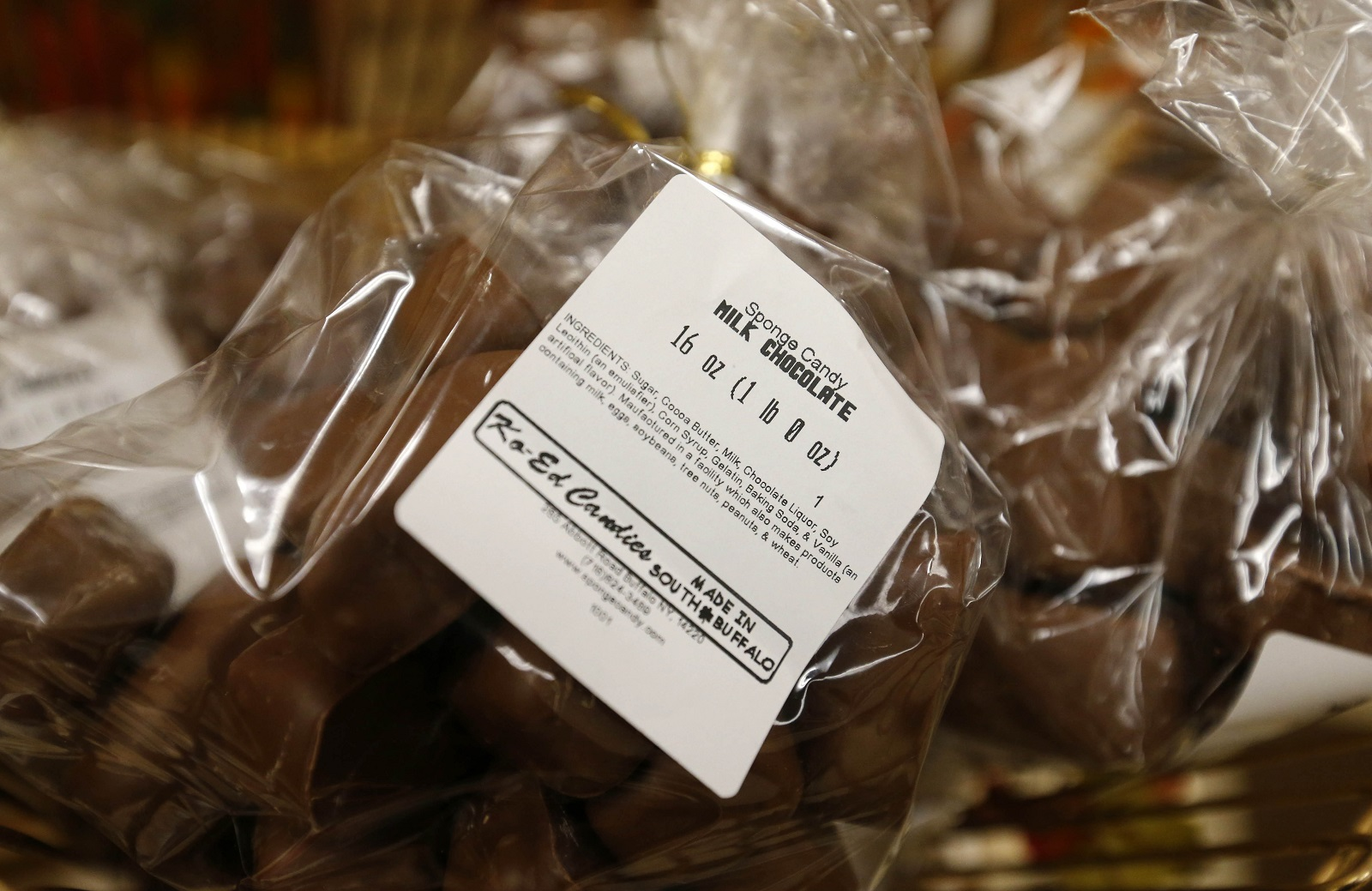 A bag of sponge candy at Ko-Ed Candies in South Buffalo. (Mark Mulville/Buffalo News)