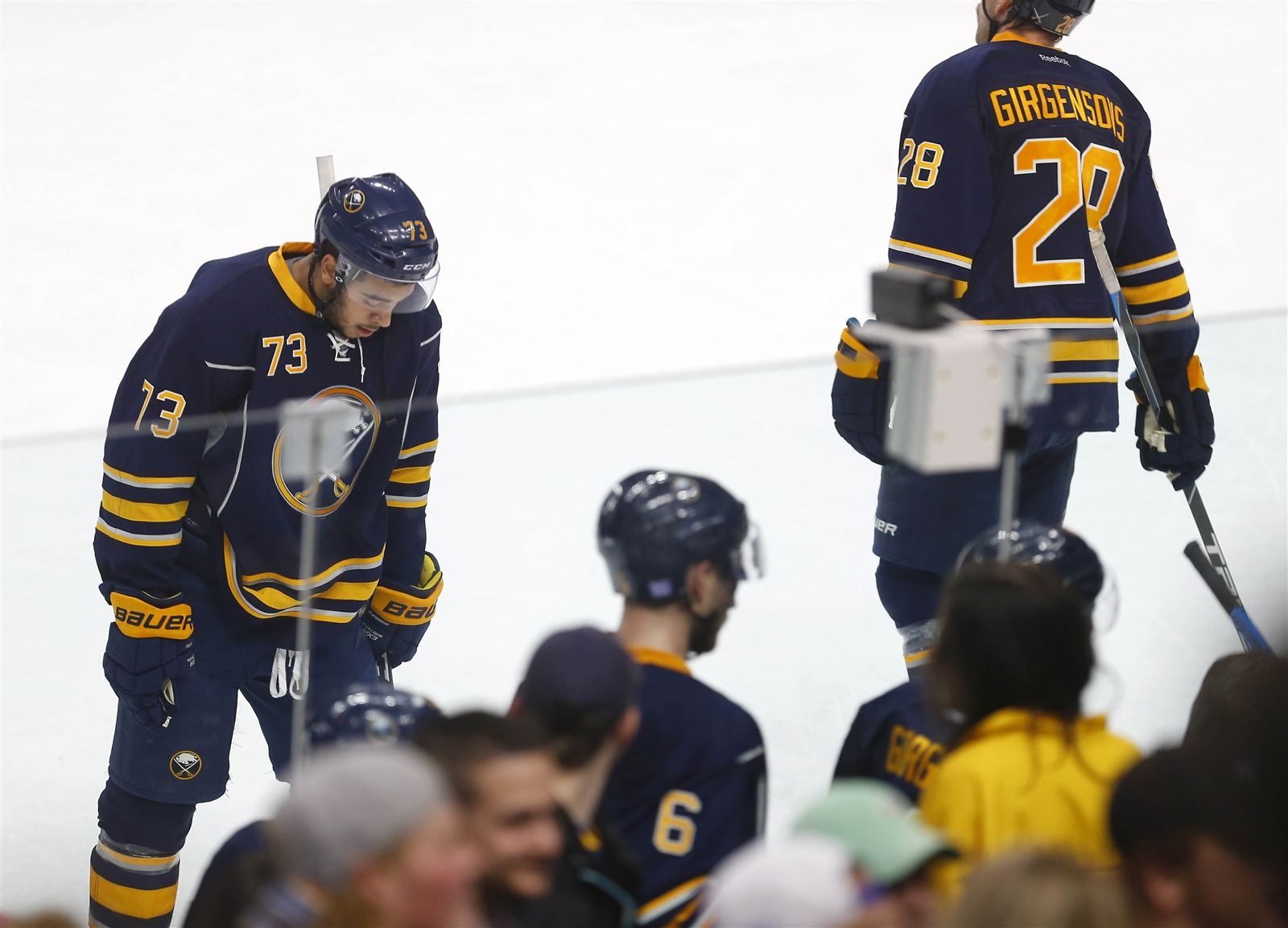 The Sabres head off the ice following their loss Thursday to Tampa Bay. (Mark Mulville/Buffalo News)