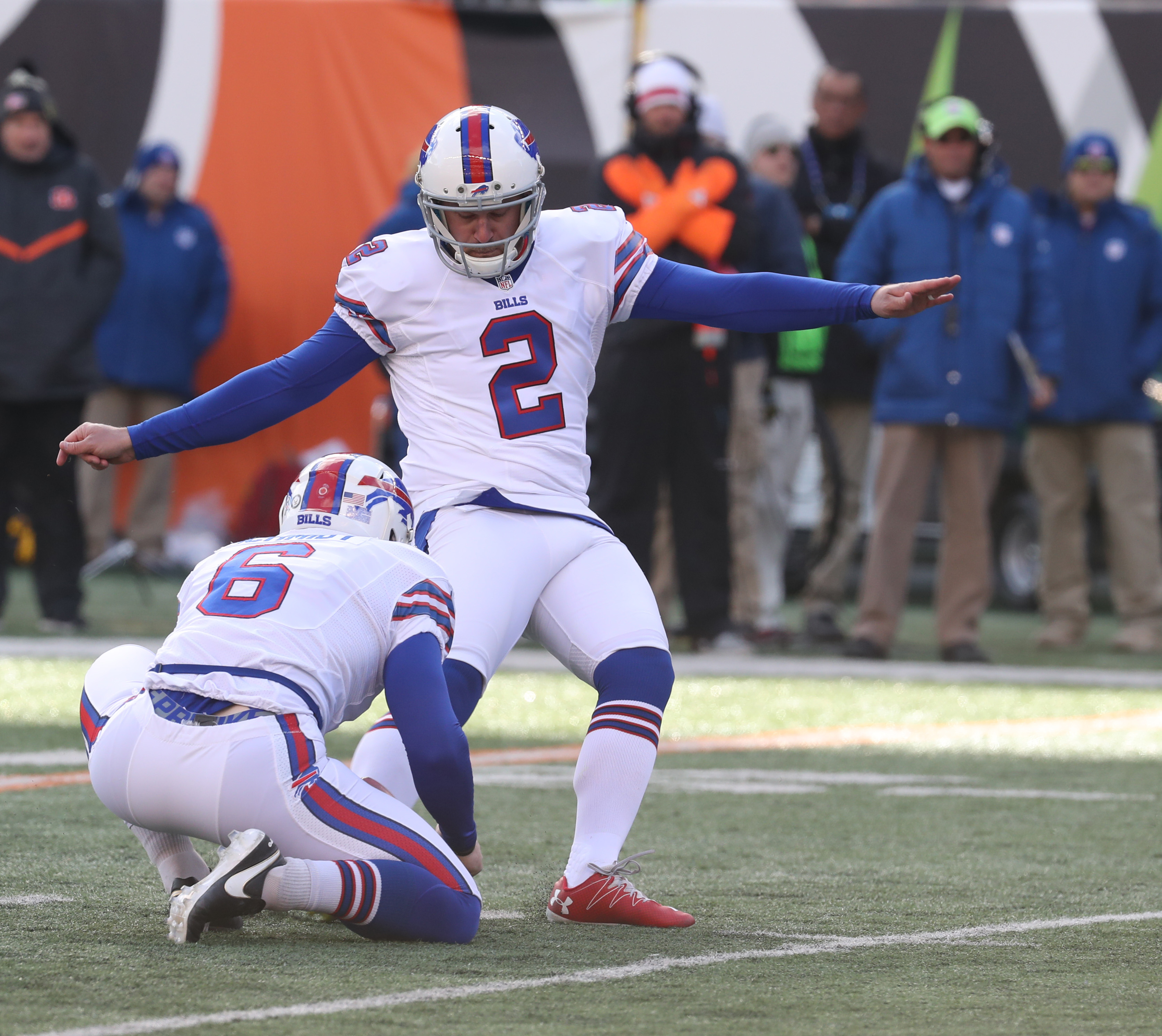 Dan Carpenter kicks a 26-yard field goal during the second quarter. He also had a 54-yarder, while Bengals kicker Mike Nugent struggled. (James P. McCoy/Buffalo News)