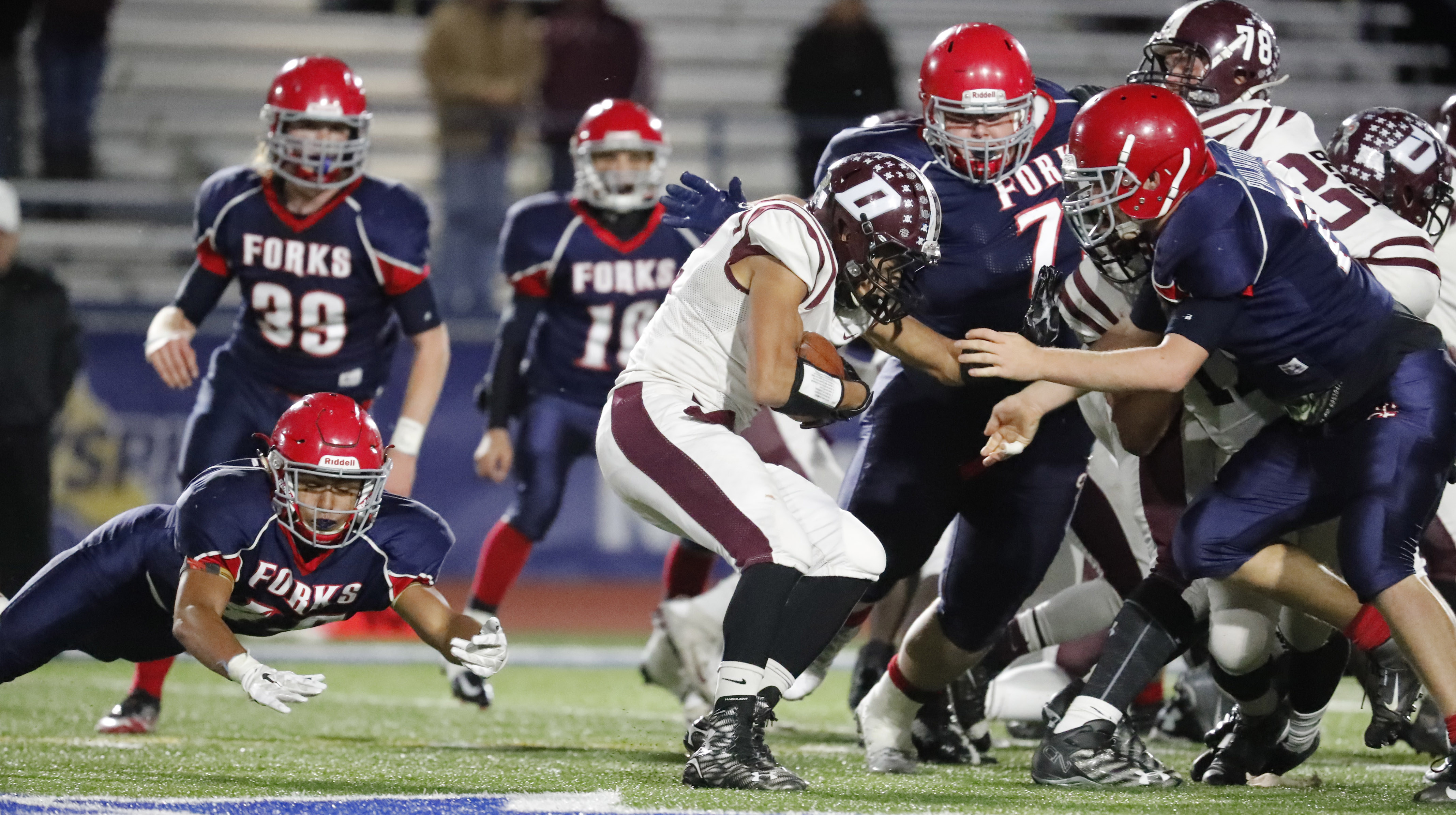 Dunkirk running back Alton Ingram didn't have much running room against a stout Chenango Forks defense. (Harry Scull Jr./Buffalo News)