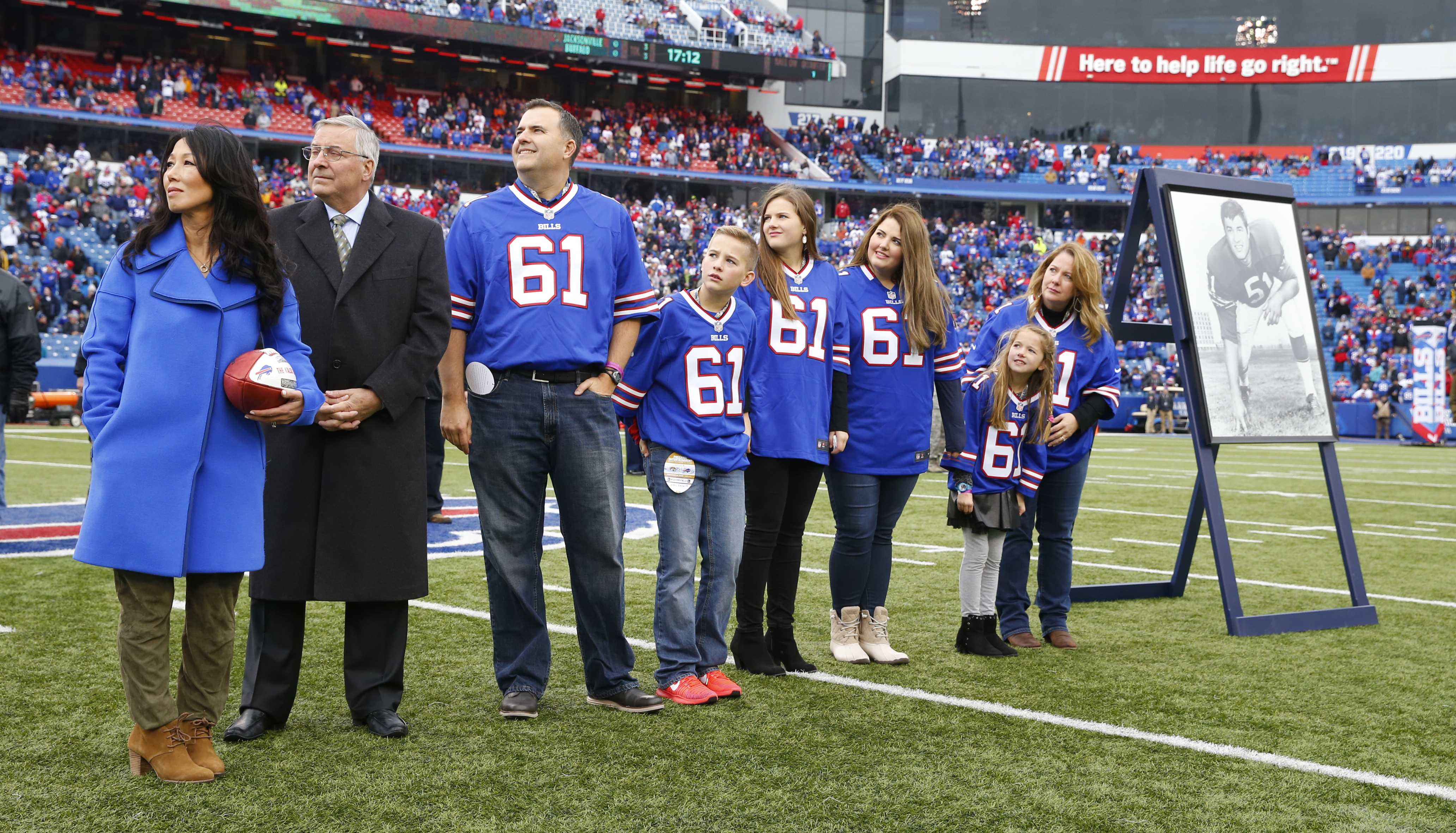 Buffalo Bills owners Terry and Kim Pegula honor Bob Kalsu in a pregame ceremony. (Harry Scull Jr./Buffalo News)