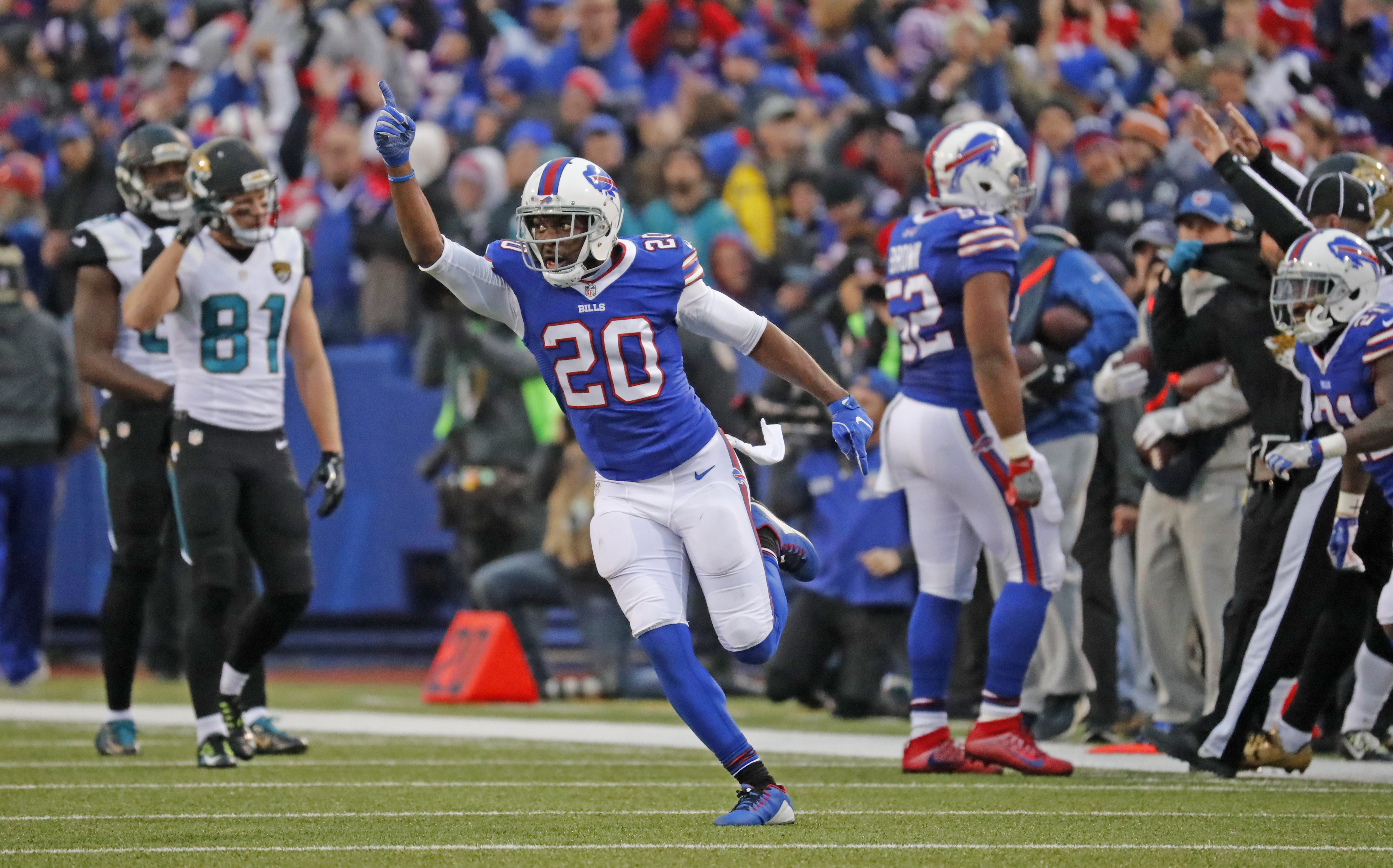 Buffalo Bills Corey Graham runs back to the bench after the defense stopped the Jacksonville Jaguars during the fourth quarter. (Harry Scull Jr./Buffalo News)