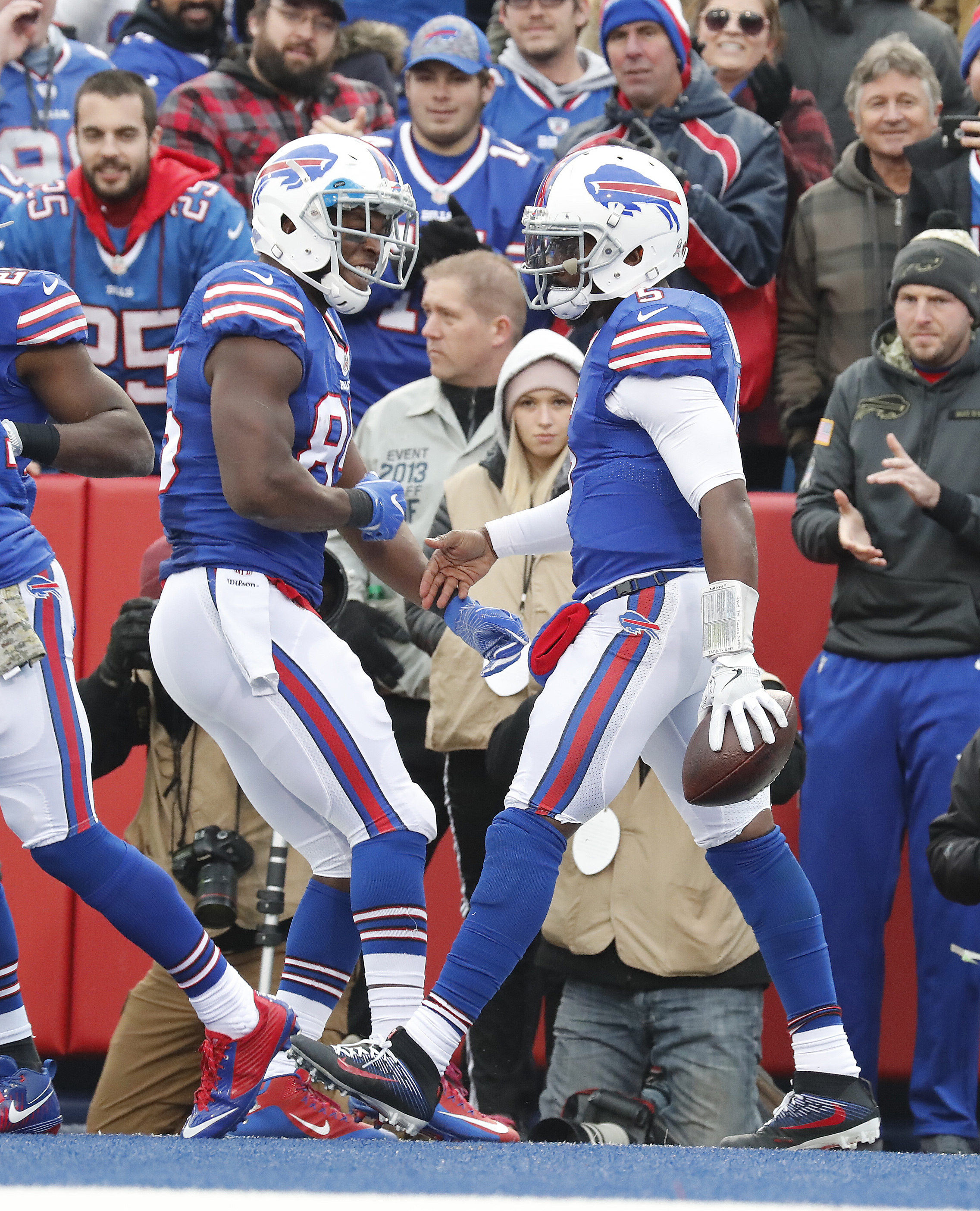 Buffalo Bills Tyrod Taylor is congratulated on his touchdown by Charles Clay agains the Jacksonville Jaguars during third quarter action at New Era Field on Sunday, Nov. 27, 2016. (Harry Scull Jr./Buffalo News)