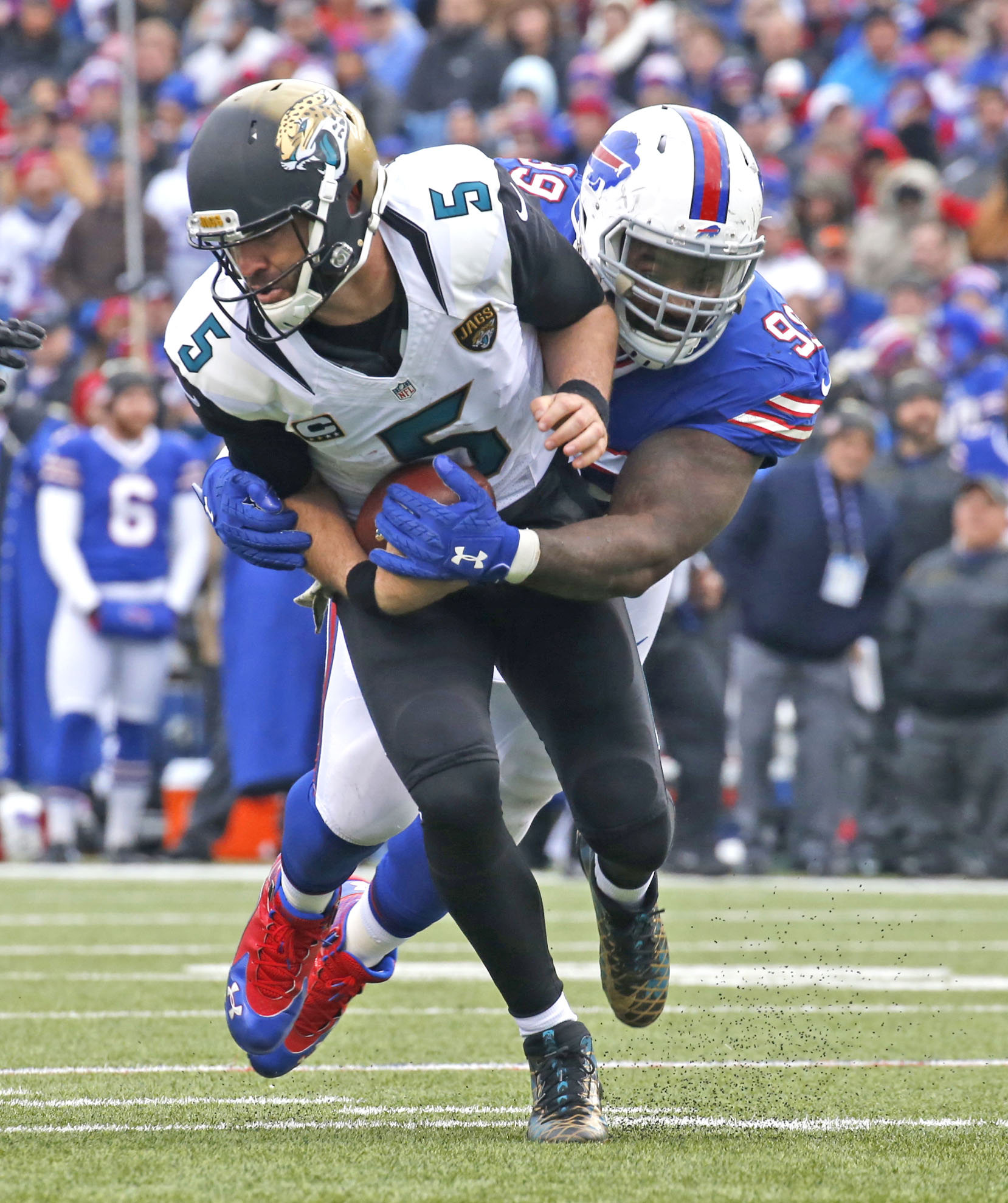 Marcell Dareus sacks Jacksonville's QB Blake Bortles in first half action Buffalo Bills vs. Jacksonville game today at New Era Field in Orchard Park on Sunday, Nov. 27, 2016.  (Robert Kirkham/Buffalo News)