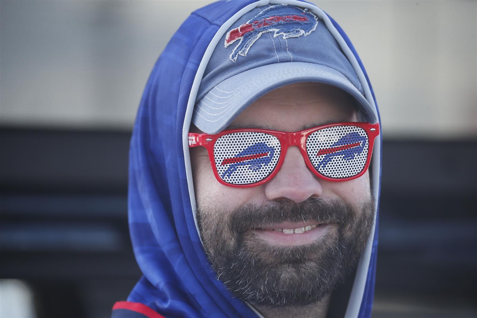 Curtis Panful of Hamburg wore his favorite shades to Sunday's Bills-Jaguars game. (Robert Kirkham/Buffalo News)
