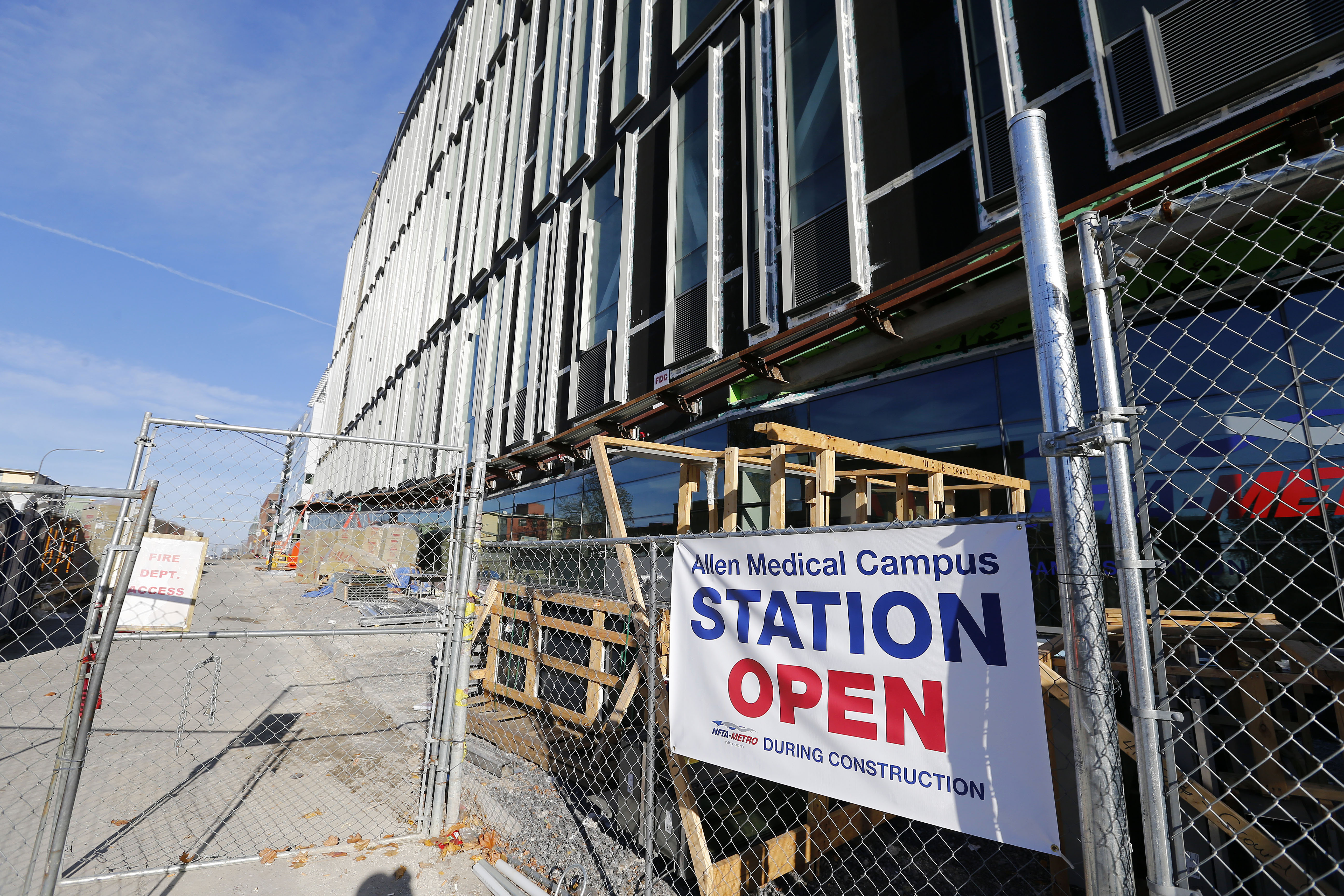 Construction is underway on the NFTA Metro Rail station at the Medical Campus/Allen St stop. (Mark Mulville/The Buffalo News)