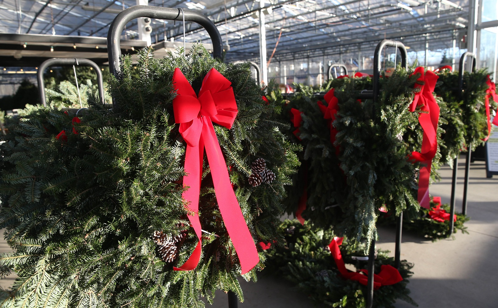 Christmas wreaths made from pine branches are among the gifts you can buy from Niagara Produce. (Sharon Cantillon/Buffalo News)