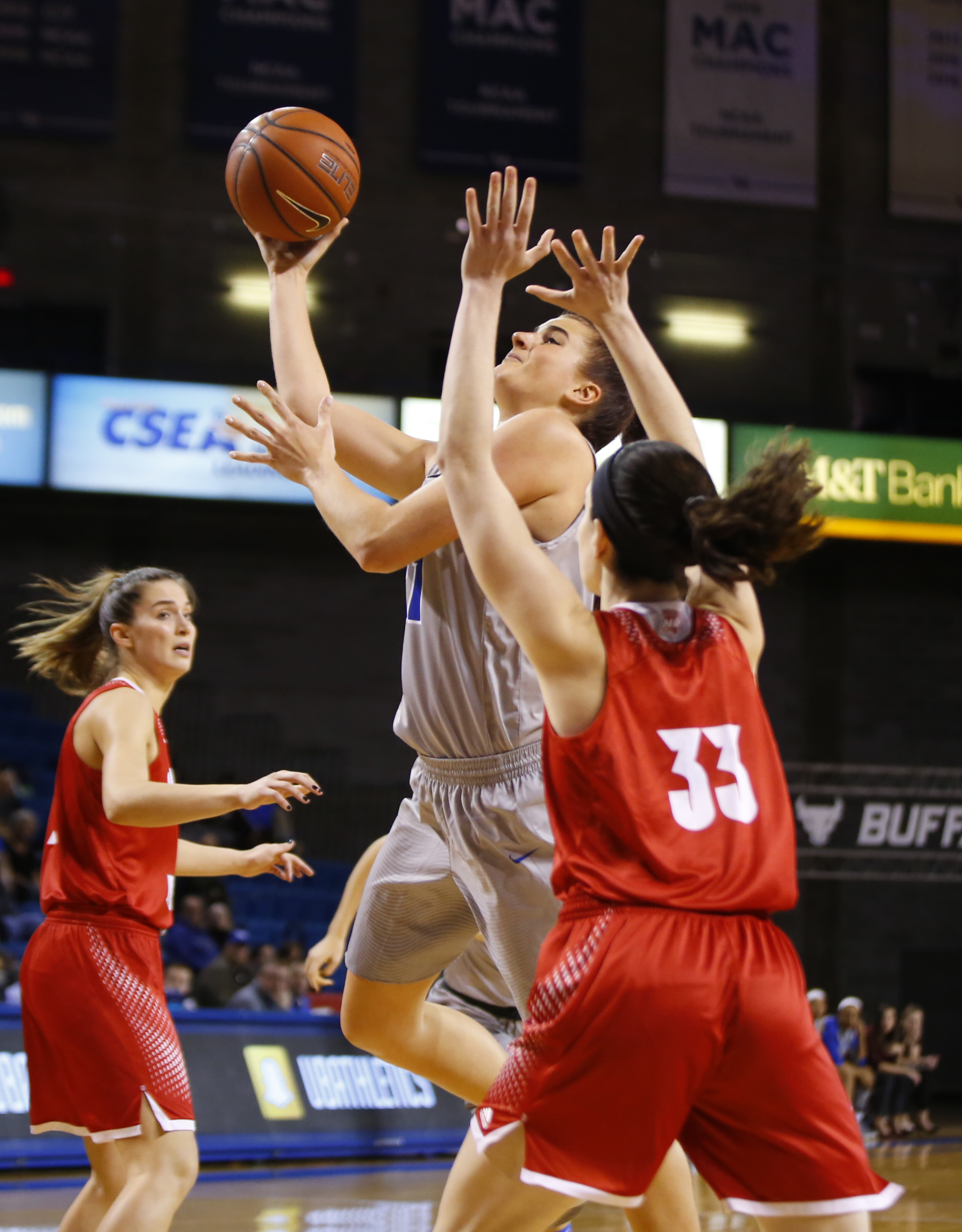 University at Buffalo's Cassie Oursler shoots against Sacred Heart during first half action at Alumni Arena on Saturday, Nov. 26, 2016.(Harry Scull Jr./Buffalo News)