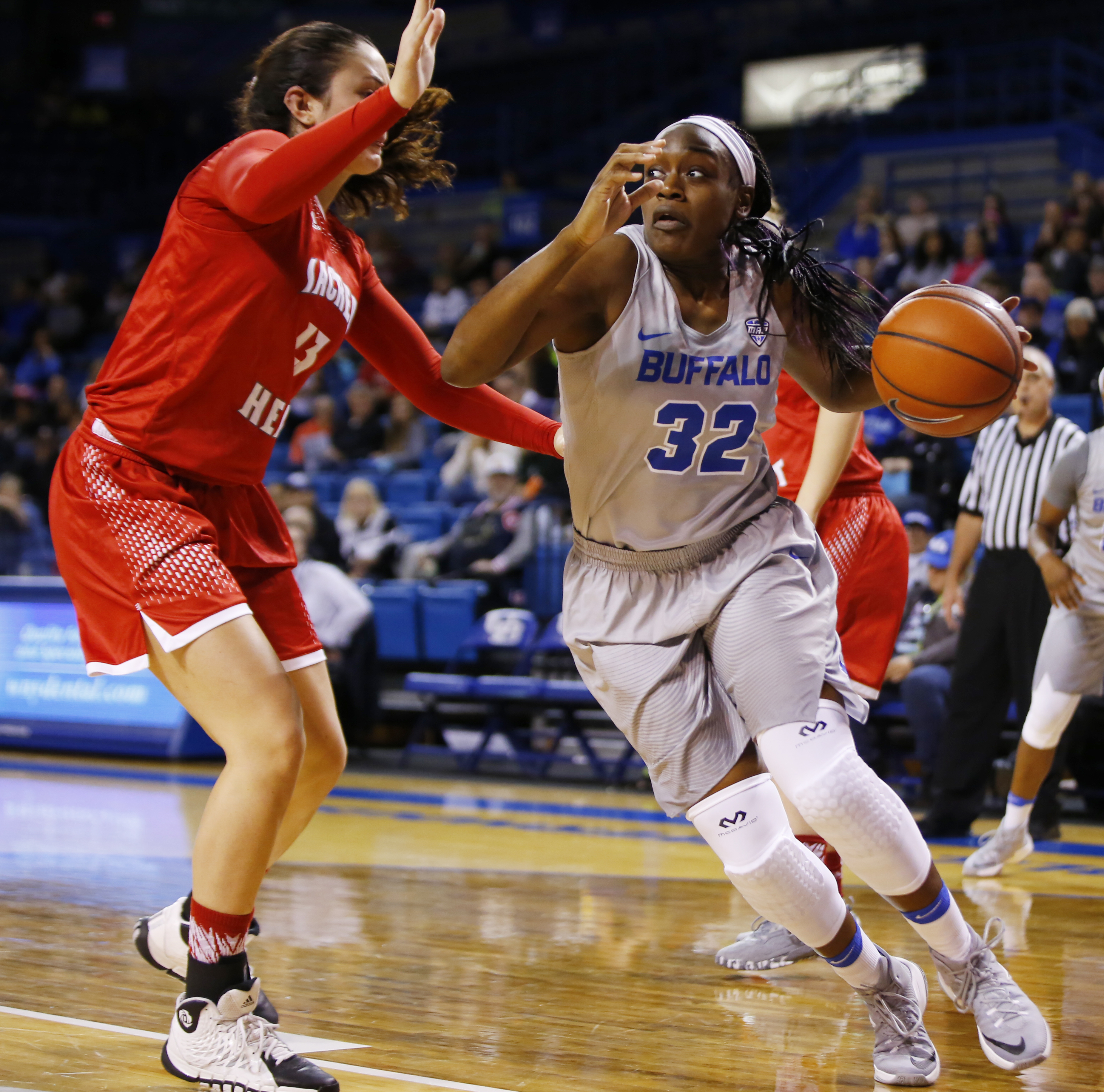 UB's Brittany Morrison drives to the basket against Sacred Heart. (Harry Scull Jr./Buffalo News)