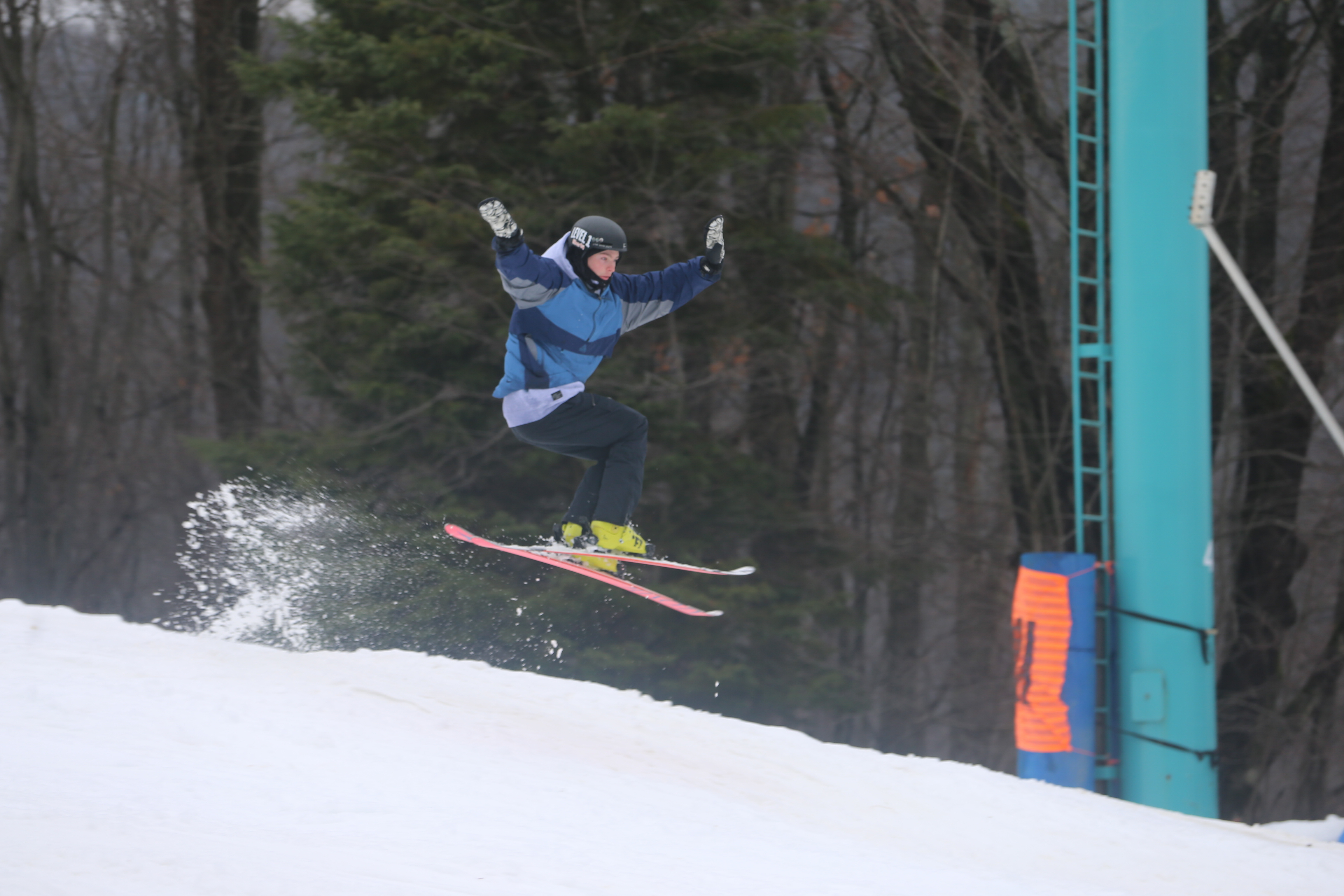 Adam Lamb, 15, of Grimsby, Ont., hits a jump on Mardi Gras as the slopes opened at Holiday Valley in Ellicottville, on Sunday, Nov. 27, 2016. (John Hickey/Buffalo News)