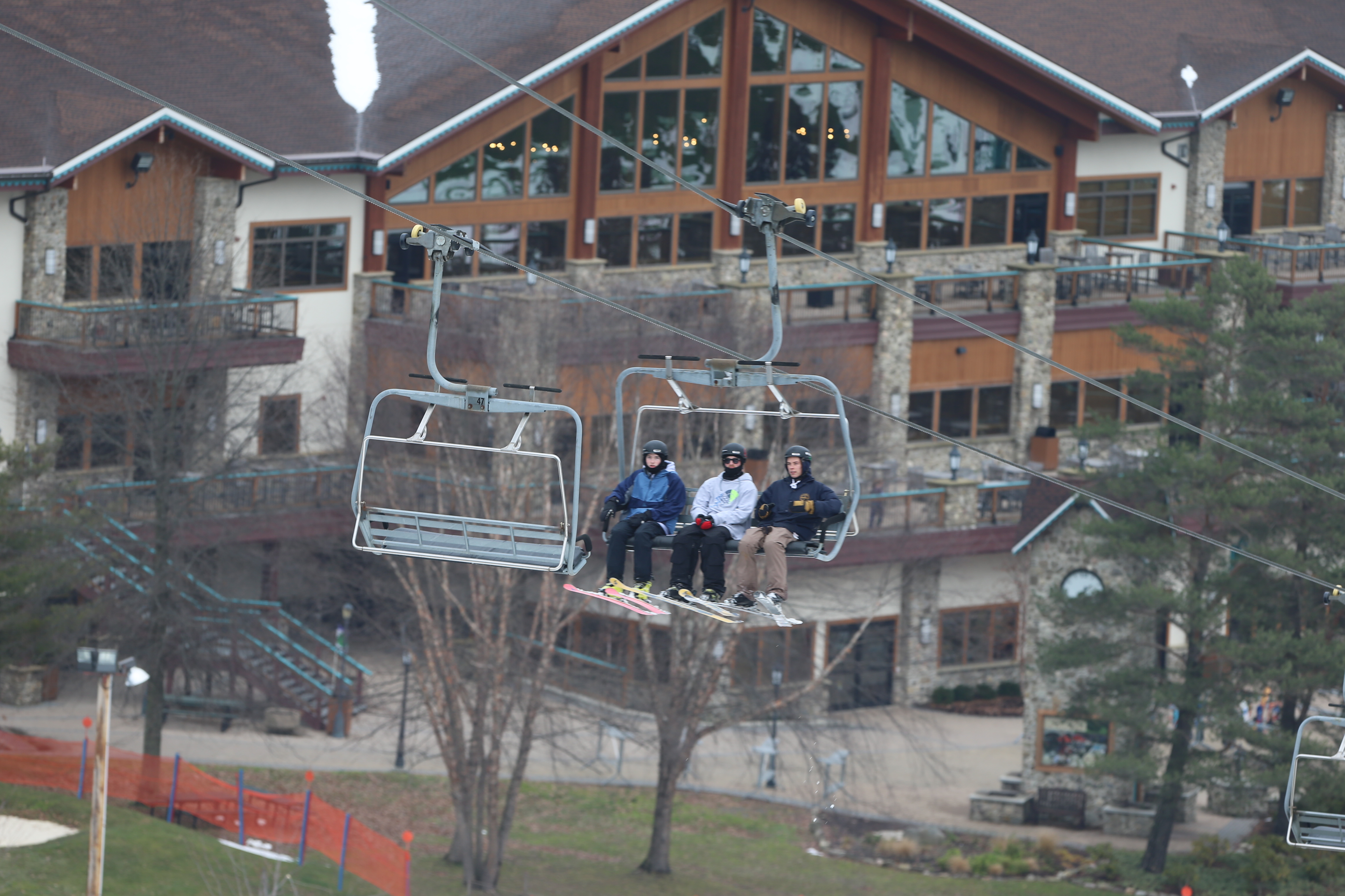 Skiers ride the chairlift up Mardi Gras as they hit the slopes on opening weekend at Holiday Valley in Ellicottville. (John Hickey/Buffalo News)
