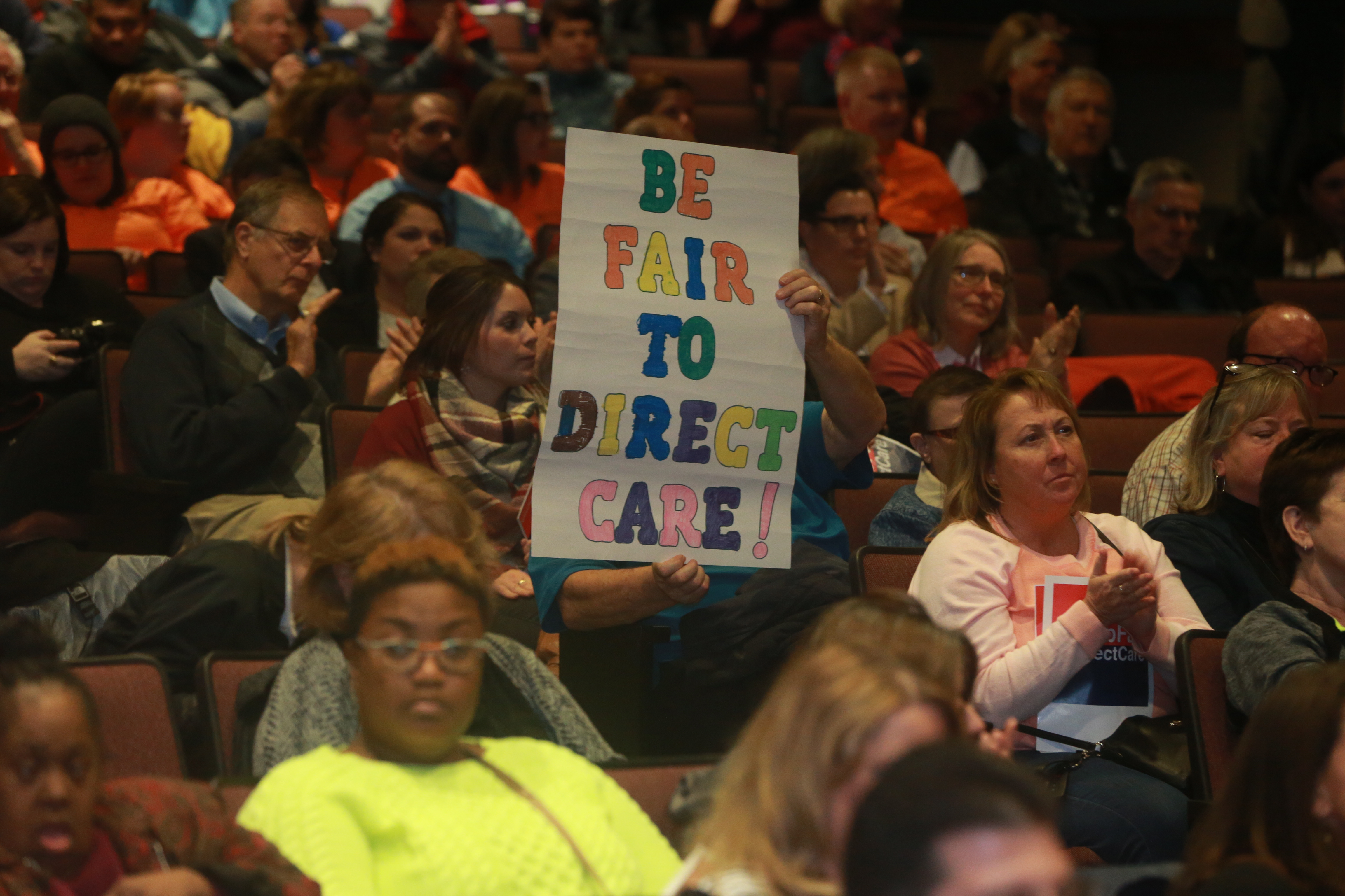 "A rally was held with more than 200 participants to highlight the #bFair2DirectCare ""300 Days to Better Pay"" campaign calling for a funding increase in the New York State budget for wages for underpaid staff at Buffalo Museum of Science. (John Hickey/Buffalo News)"